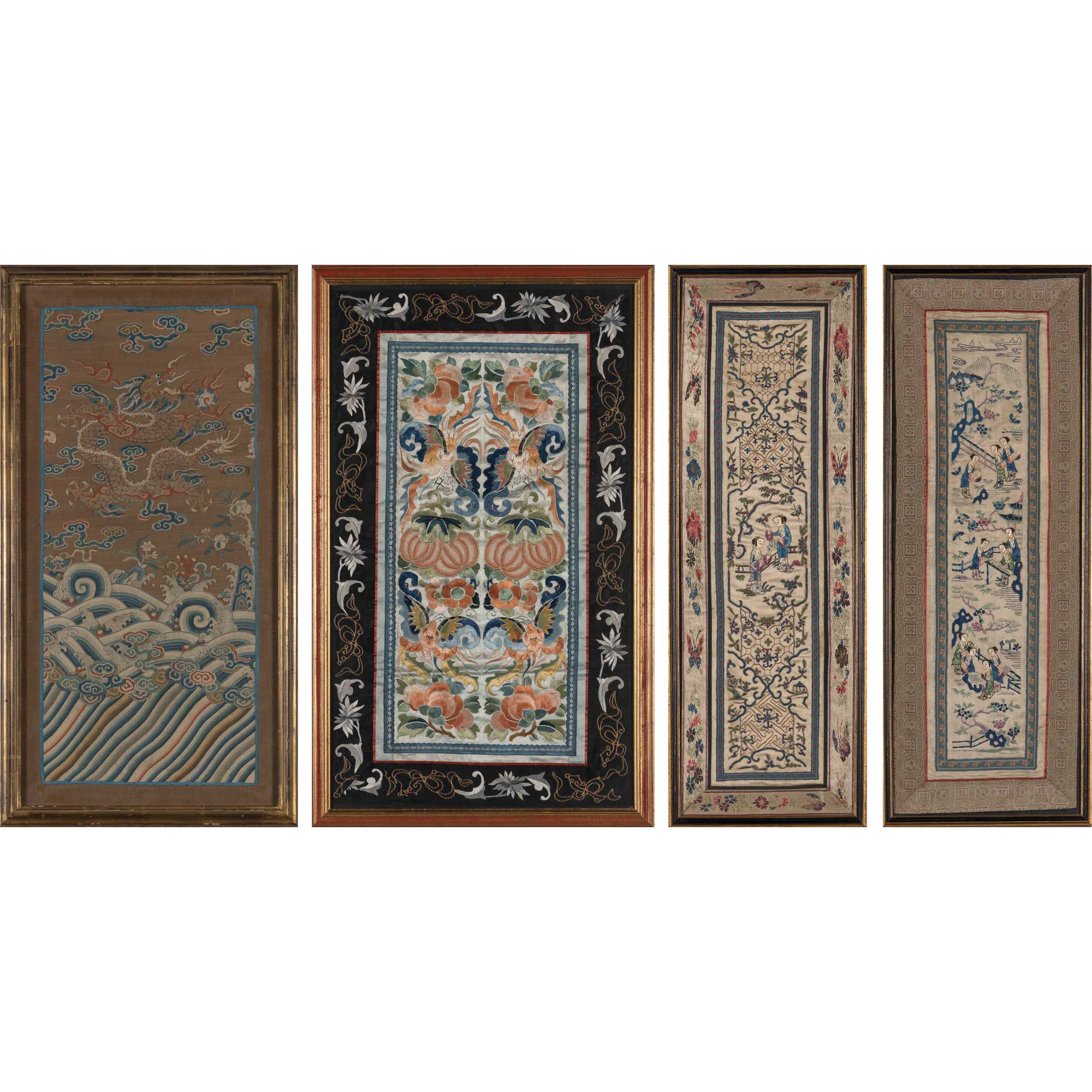 Lot image - Chinese Framed Tapestry; Together with Three Framed Embroideries