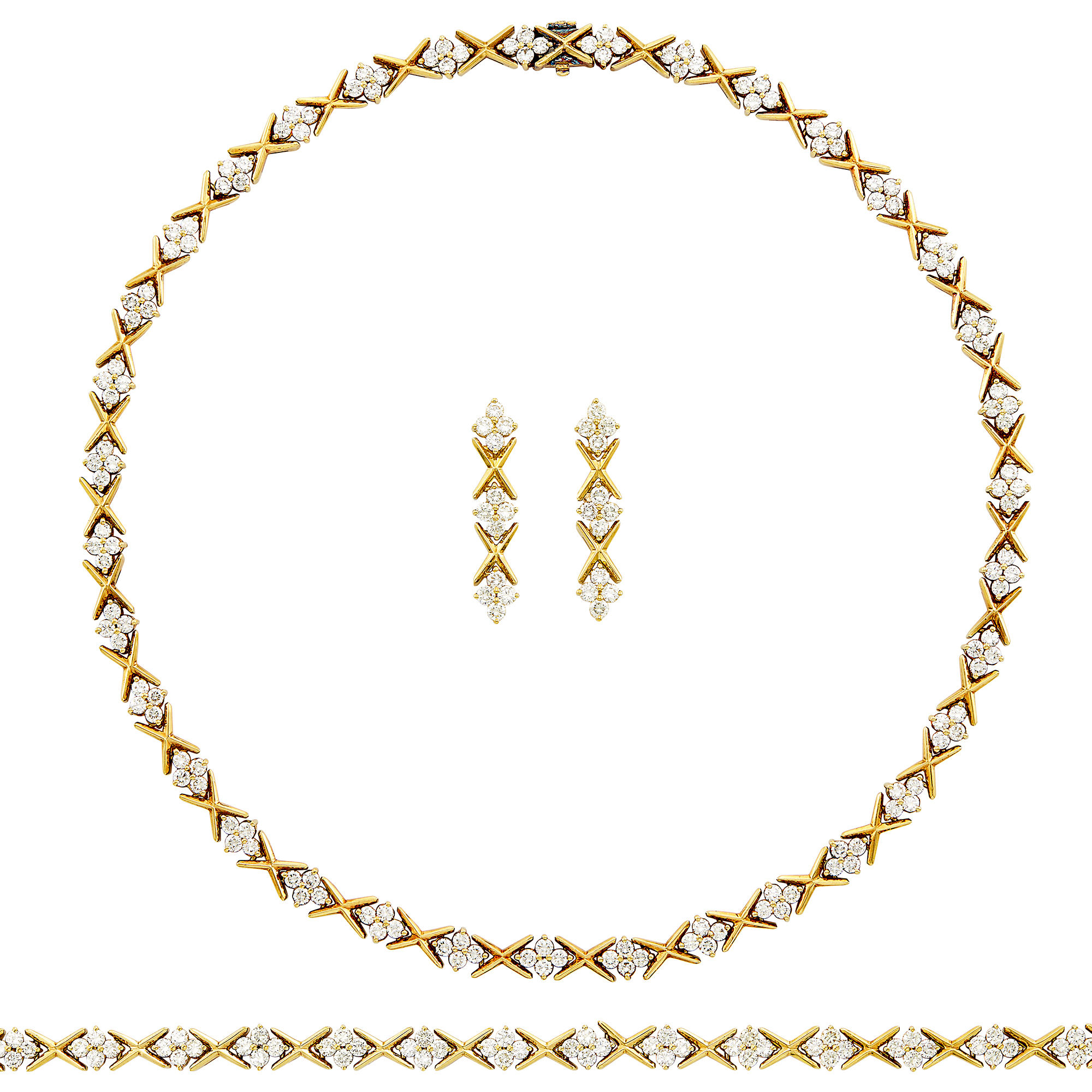 Lot image - Gold and Diamond Necklace, Bracelet and Pair of Pendant-Earclips