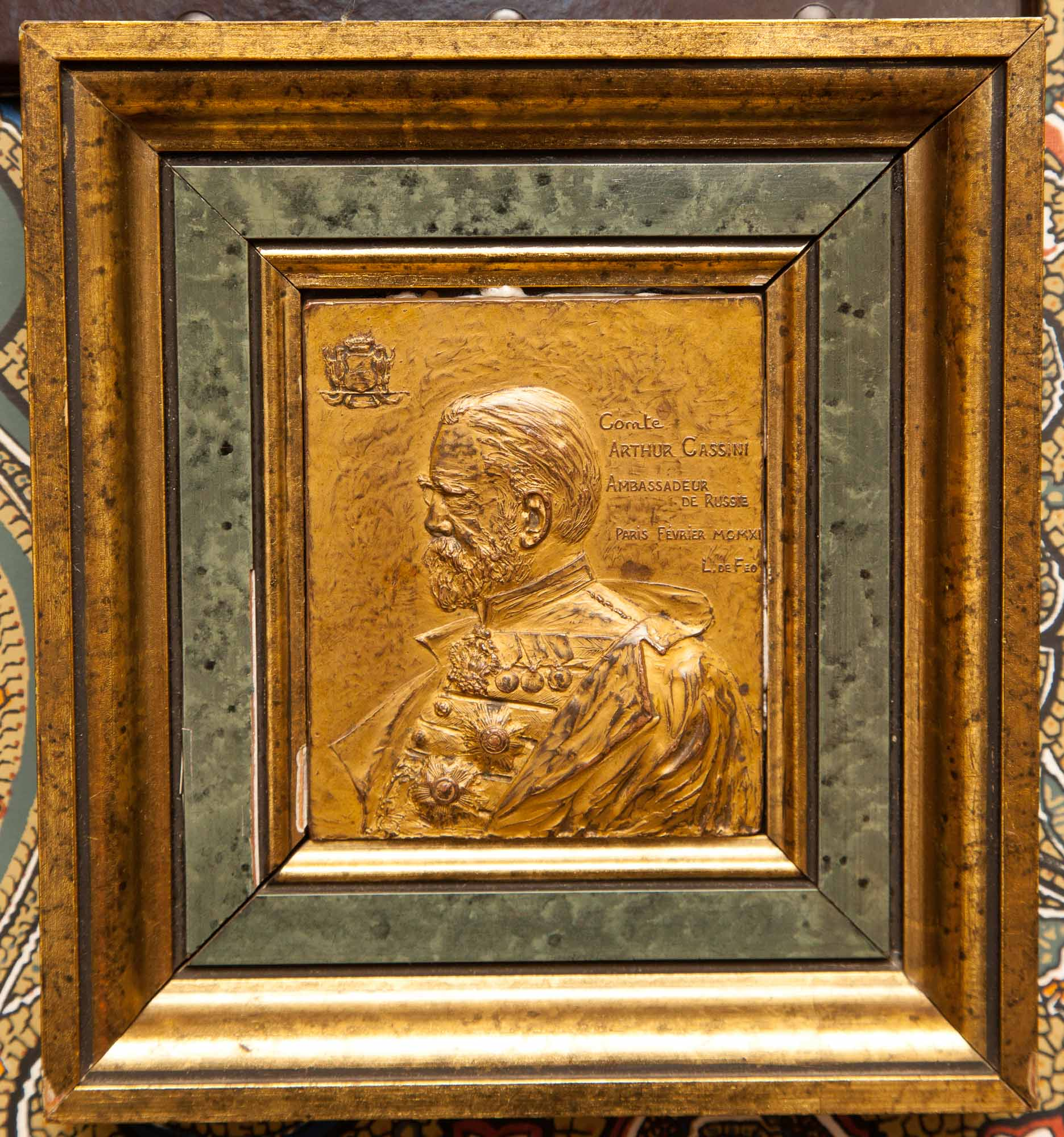 Lot image - Gilt-Bronze Portrait Profile Plaque of Comte Arthur Cassini