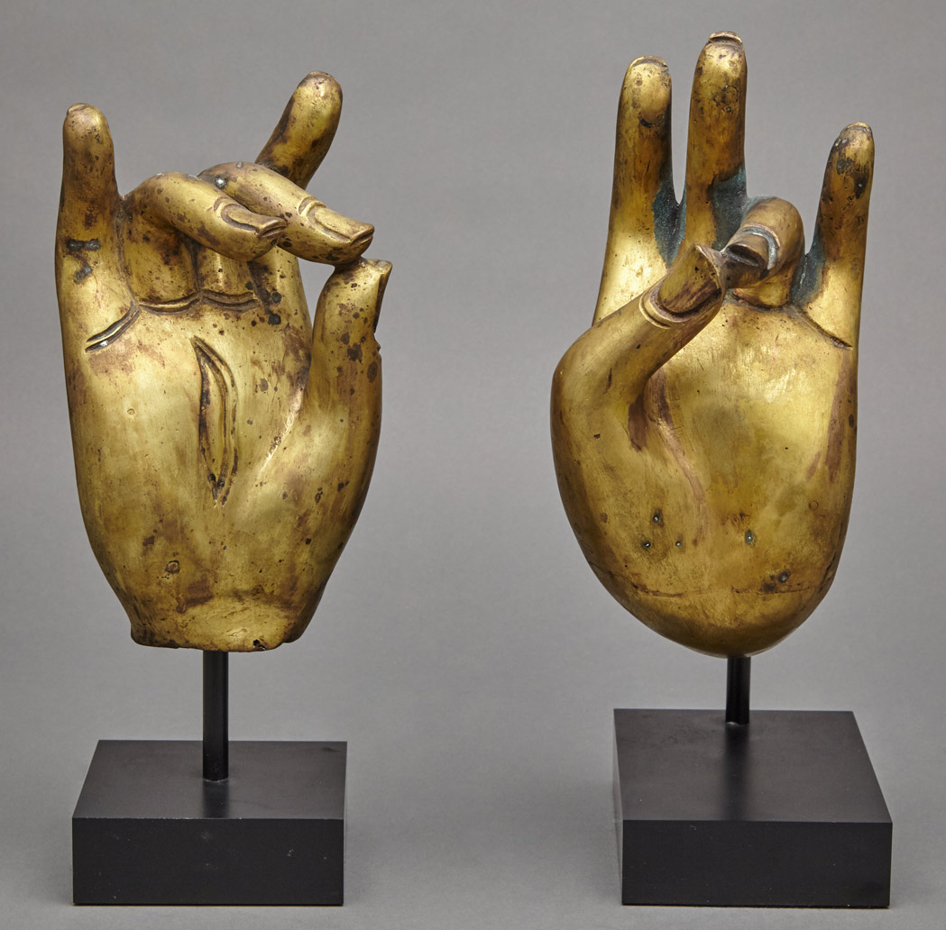 Lot image - Two Asian Gilt-Bronze Buddhist Hands