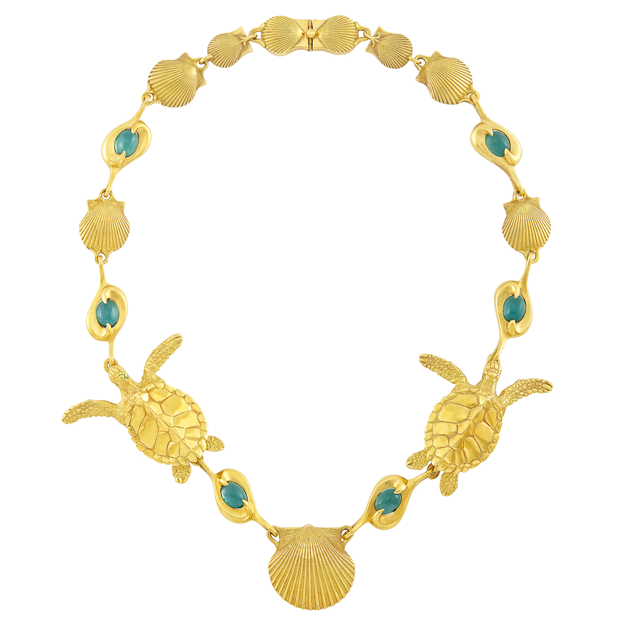 Lot image - Gold and Cabochon Tourmaline Shell and Sea Turtle Necklace, André Harvey, Donald Pywell