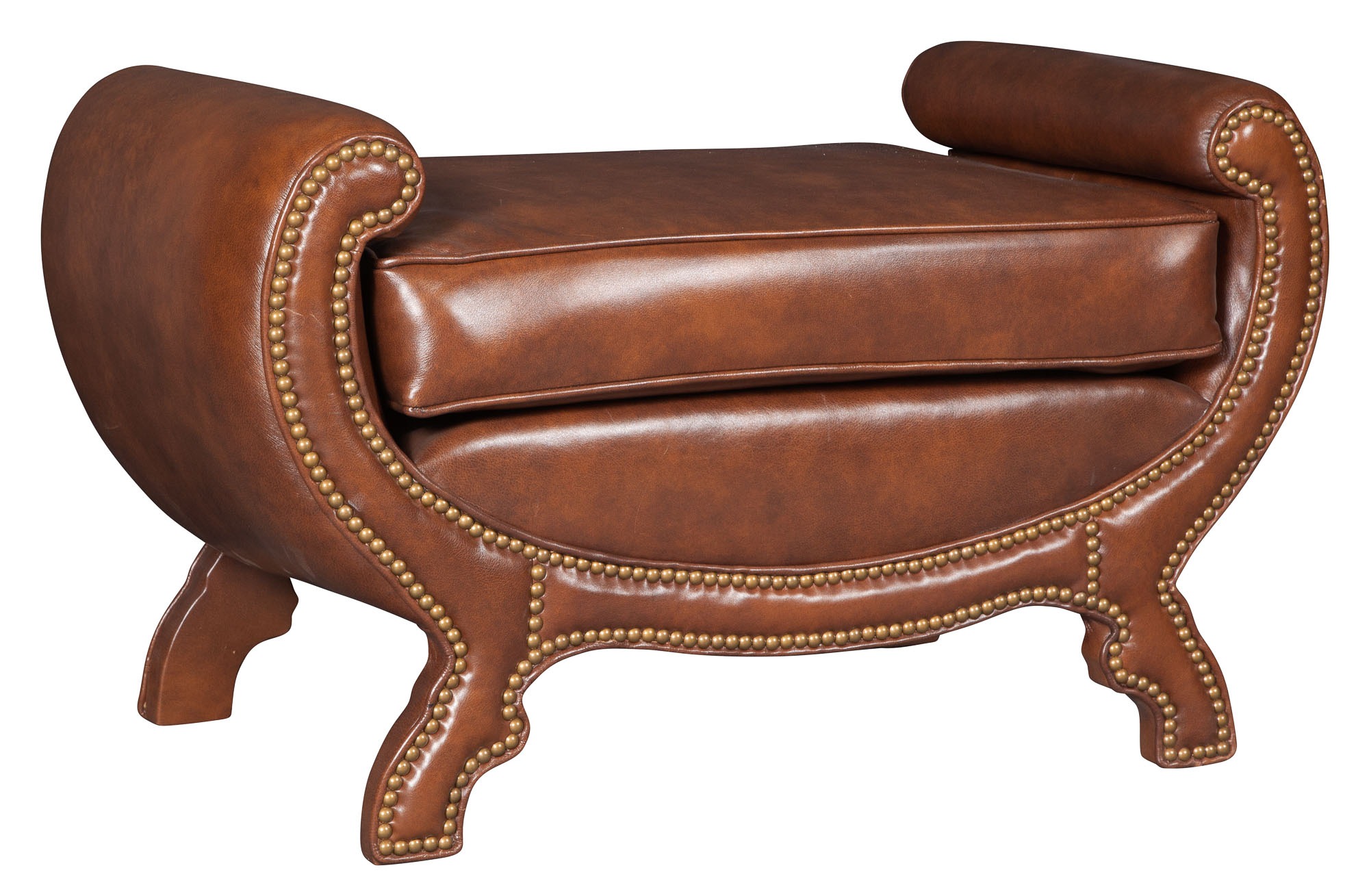 Lot image - Brown Leather-Upholstered Bench
