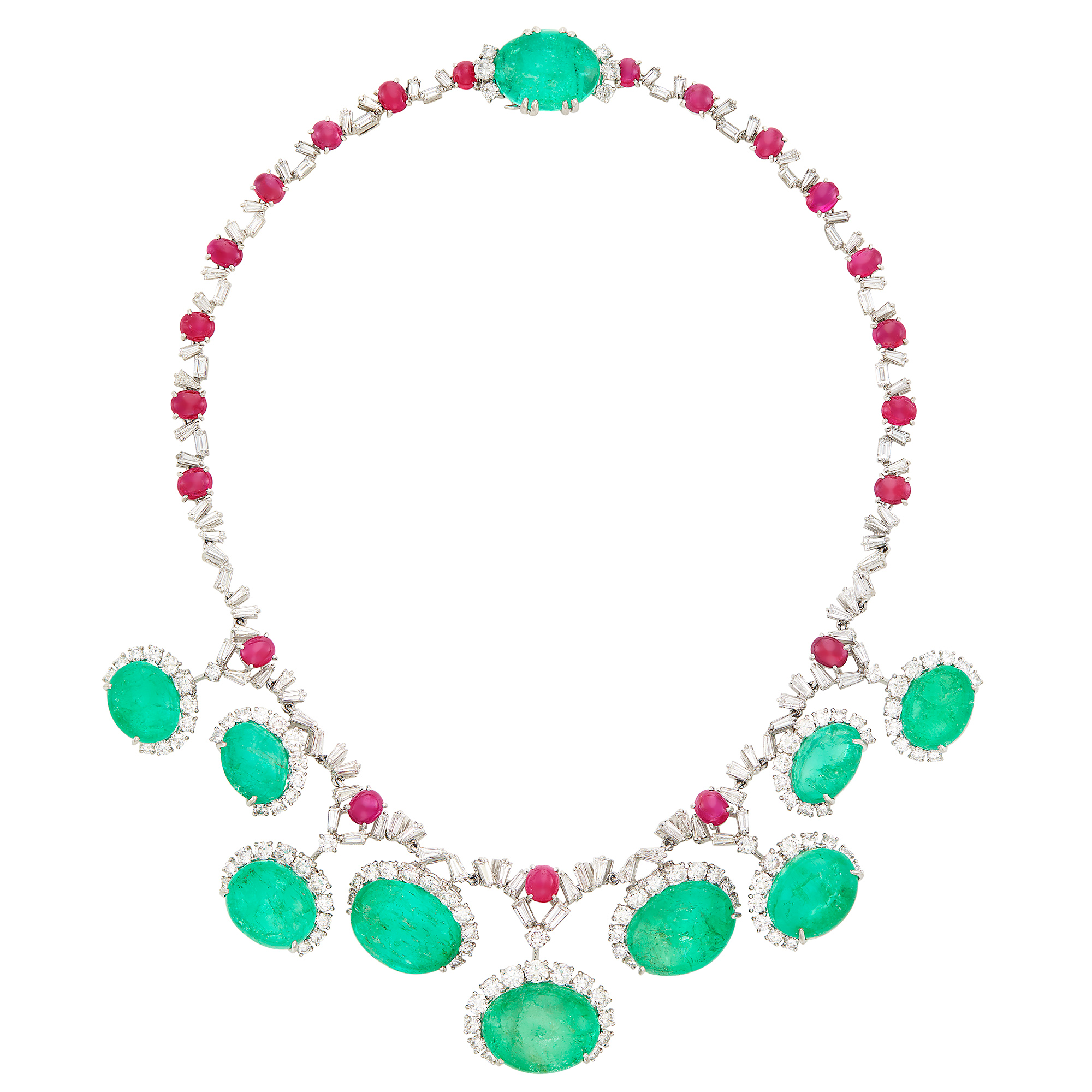 Lot image - Platinum, Cabochon Emerald and Ruby and Diamond Necklace, Cartier, France