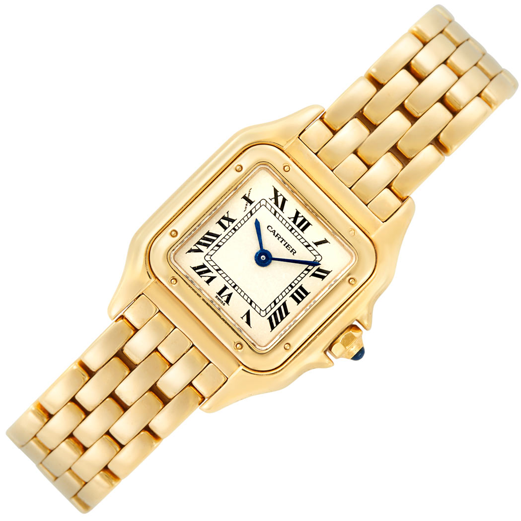 Lot image - Lady's Gold 'Panther' Wristwatch, Cartier