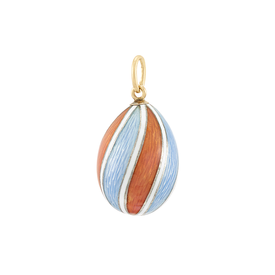 Faberg 233 Gold Silver And Guilloch 233 Enamel Pendant Egg