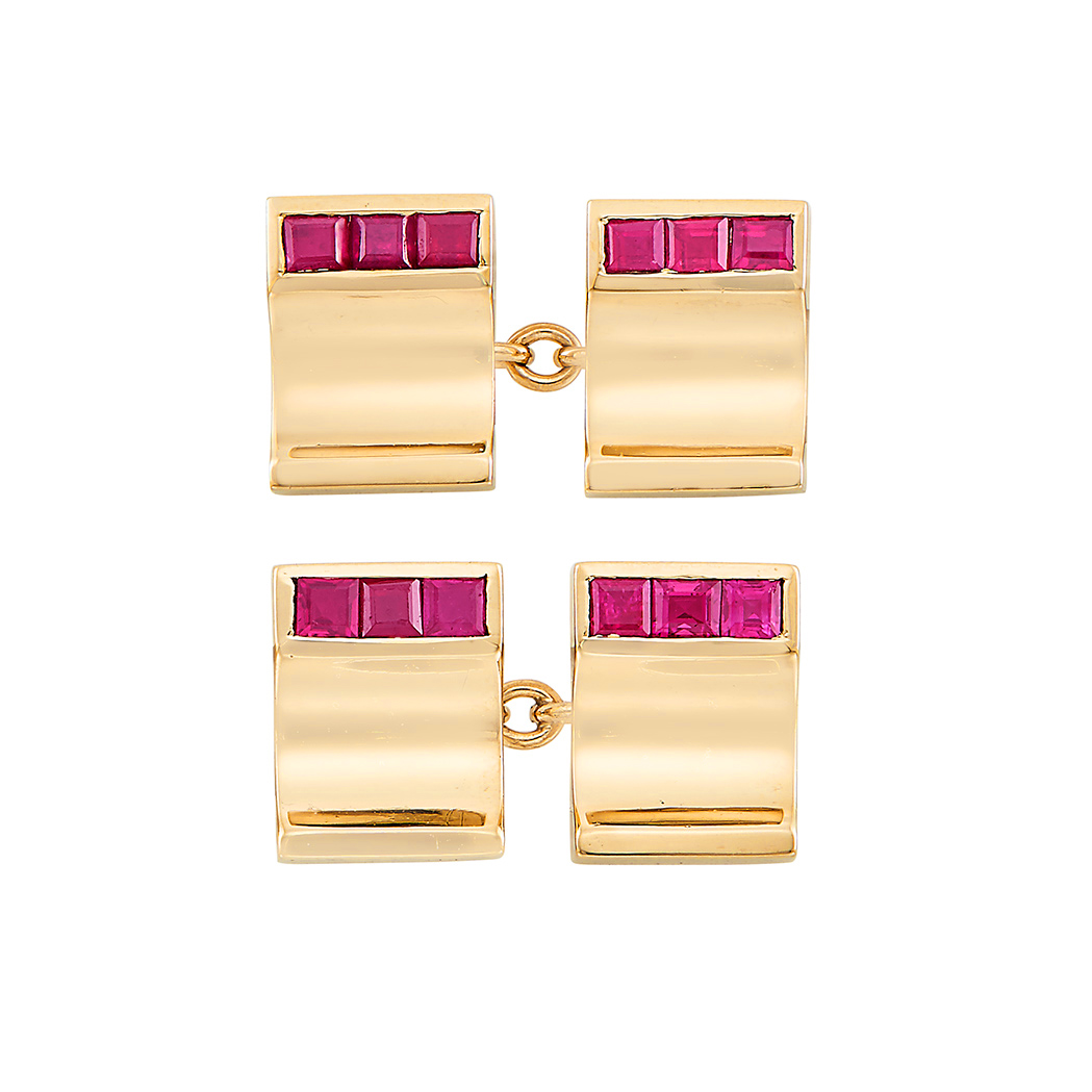 Lot image - Pair of Gold and Ruby Cufflinks, Cartier