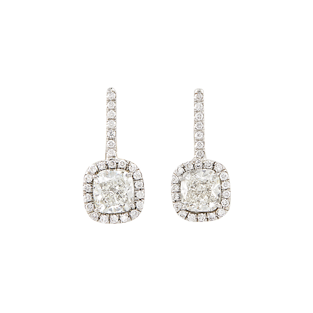 Lot image - Pair of Platinum, White Gold and Diamond Earrings