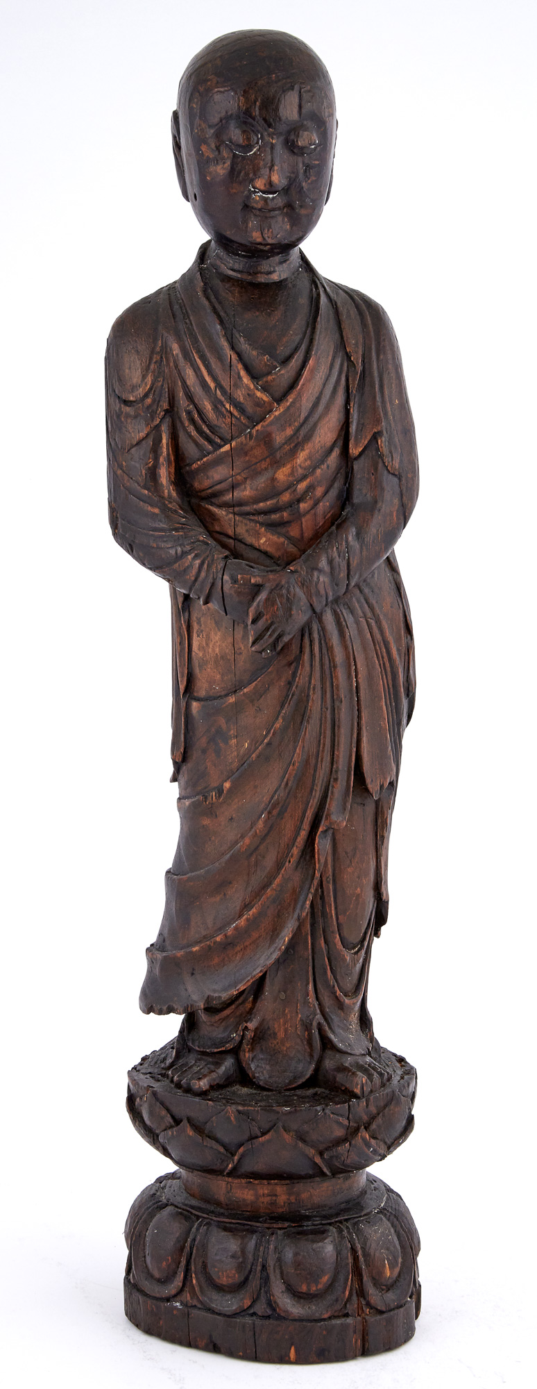Lot image - Japanese Carved Wood Figure of Buddha