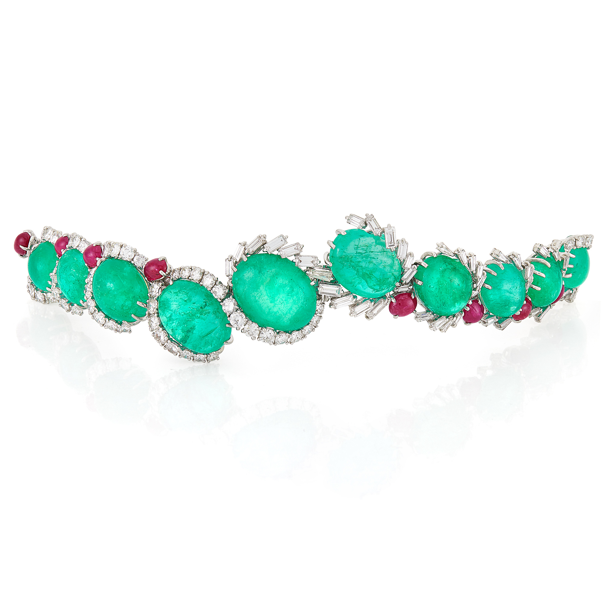 Lot image - Platinum, Cabochon Emerald and Ruby and Diamond Bracelet, Cartier, France