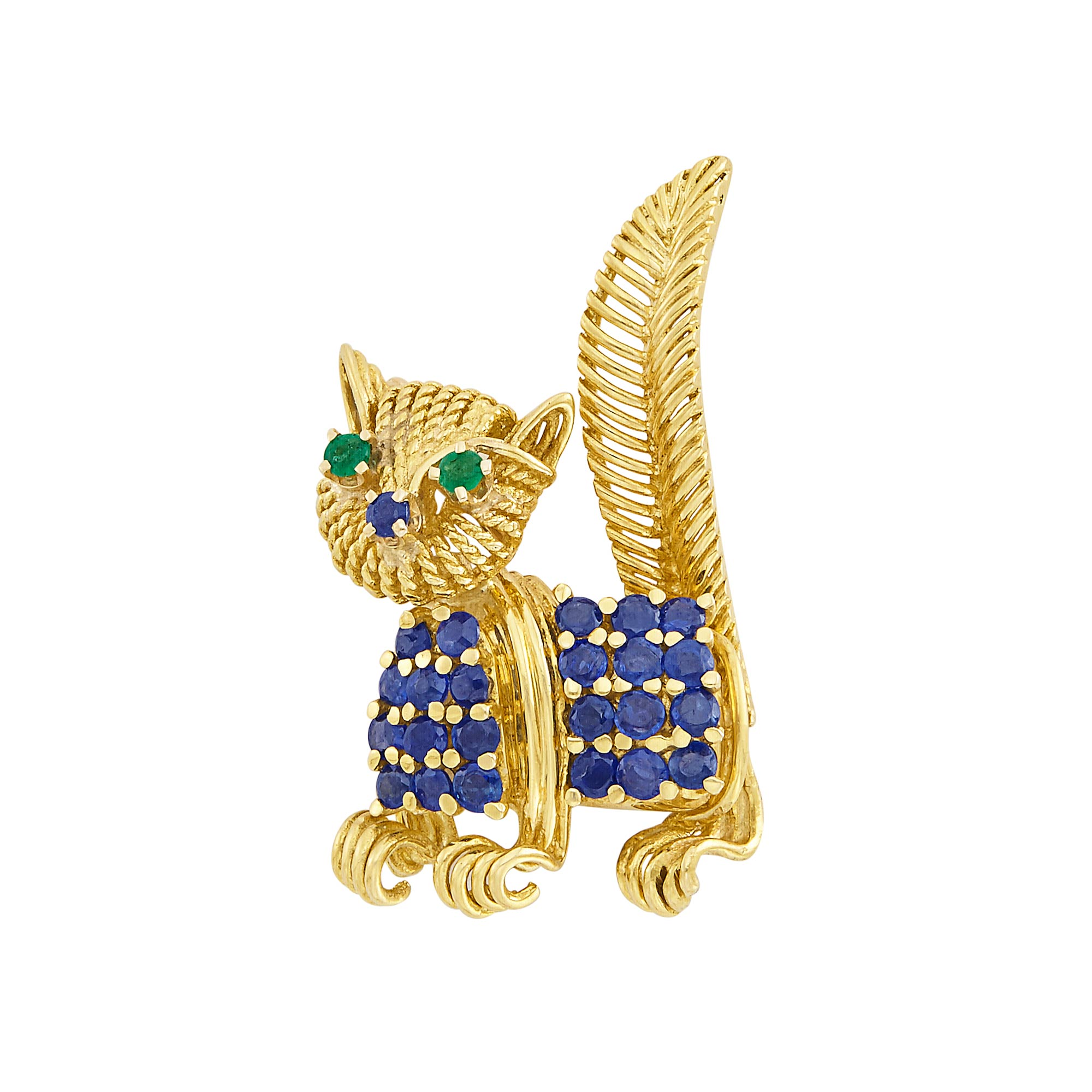 Lot image - Gold, Sapphire and Emerald Cat Pin, Tiffany & Co.