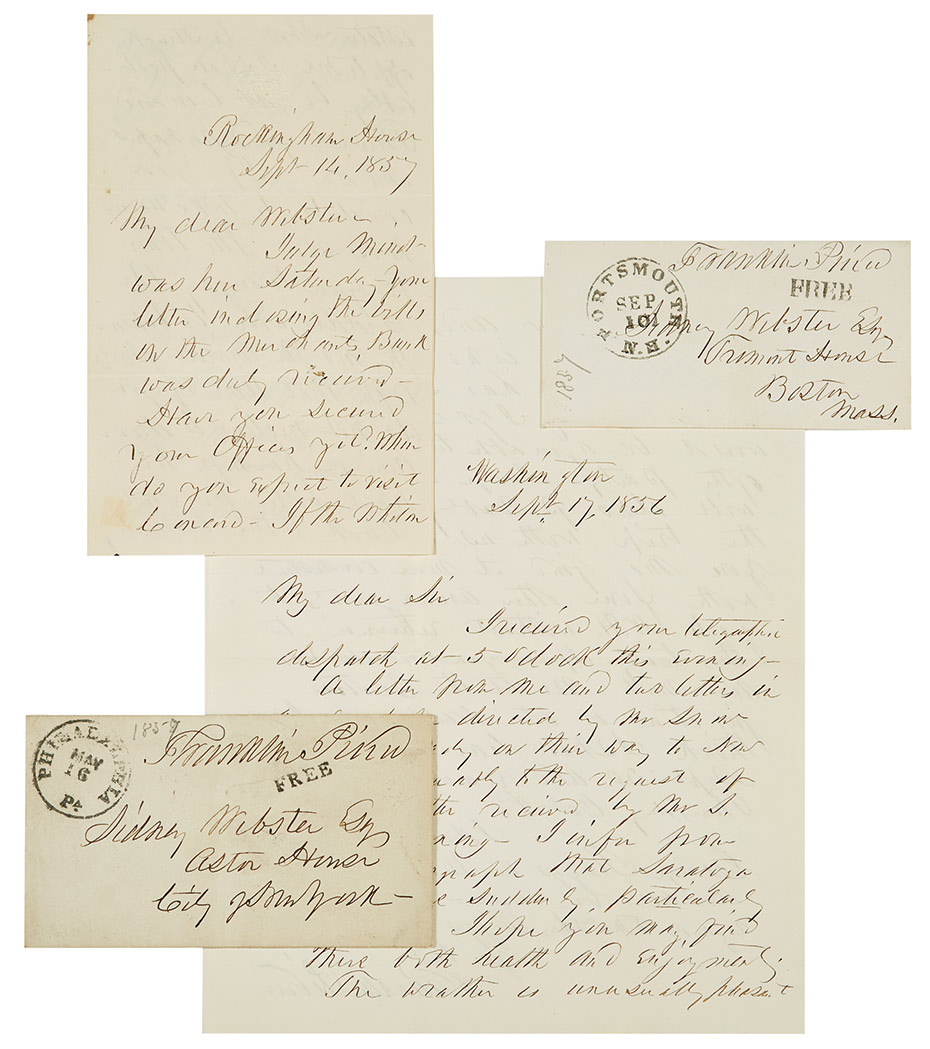 Lot image - [PRESIDENTIAL LETTERS - PIERCE, FRANKLIN]  Approximately ninety autograph letters signed from Franklin Pierce to Sidney Webster, 1854-1869.
