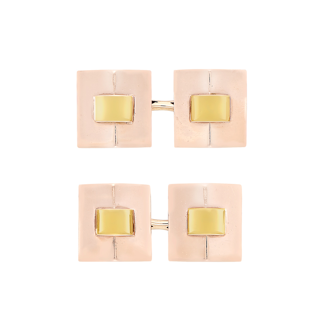 Lot image - Pair of Two-Color Gold Cufflinks, Cartier