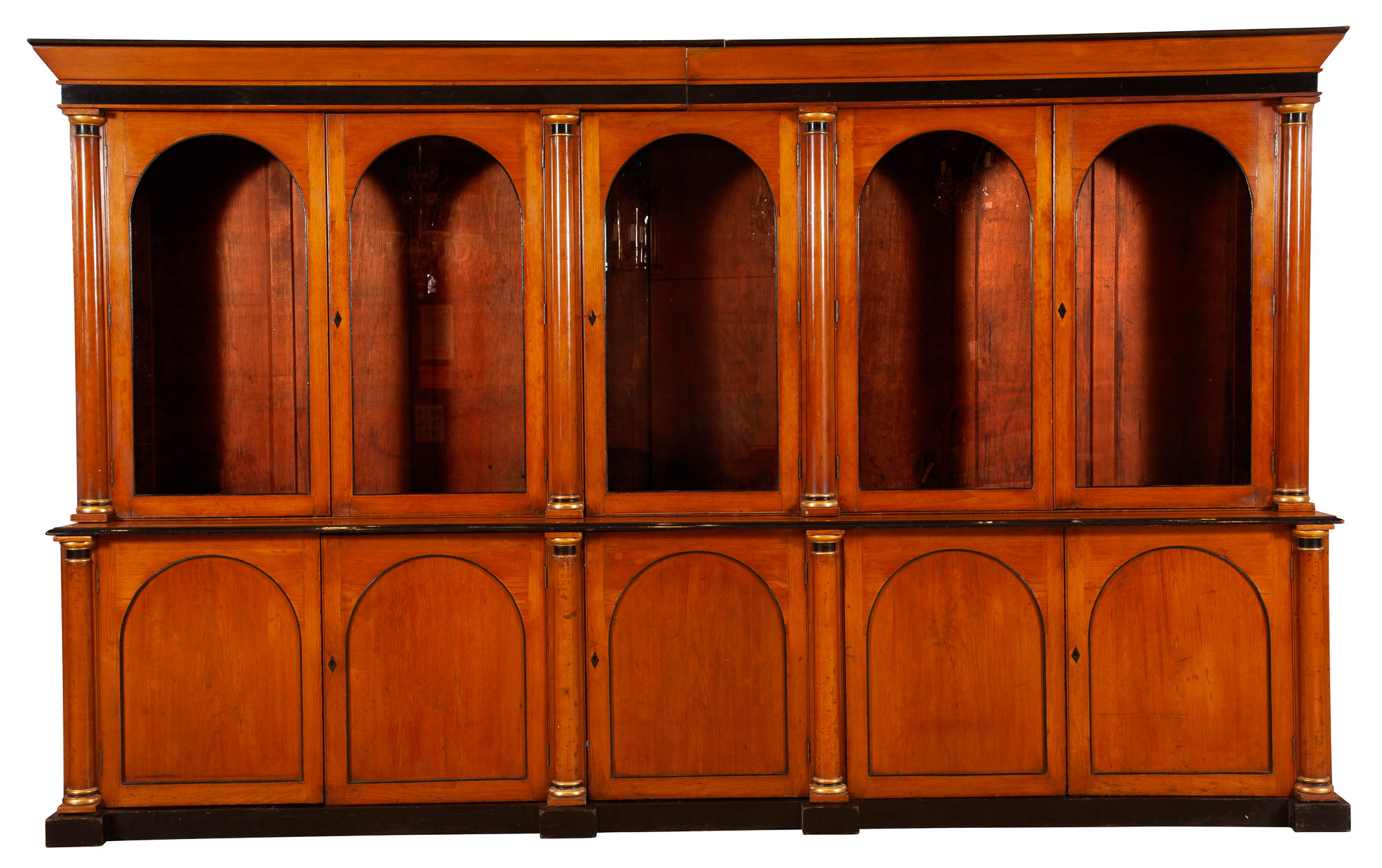Lot image - Biedermeier Fruitwood, Part-Ebonized and Parcel-Gilt Large Bookcase Cabinet