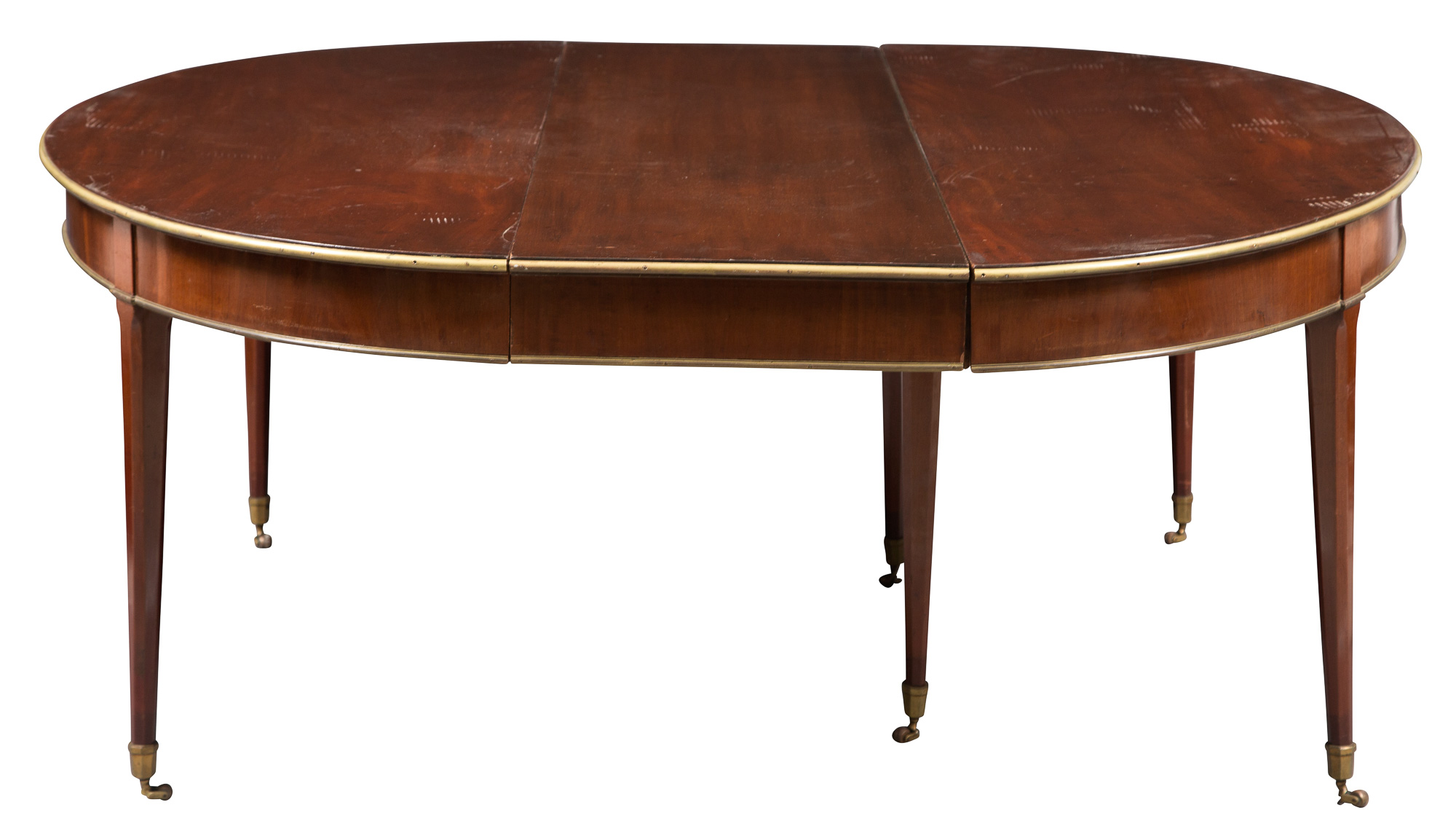Lot image - Directoire Mahogany and Brass-Mounted Extension Dining Table