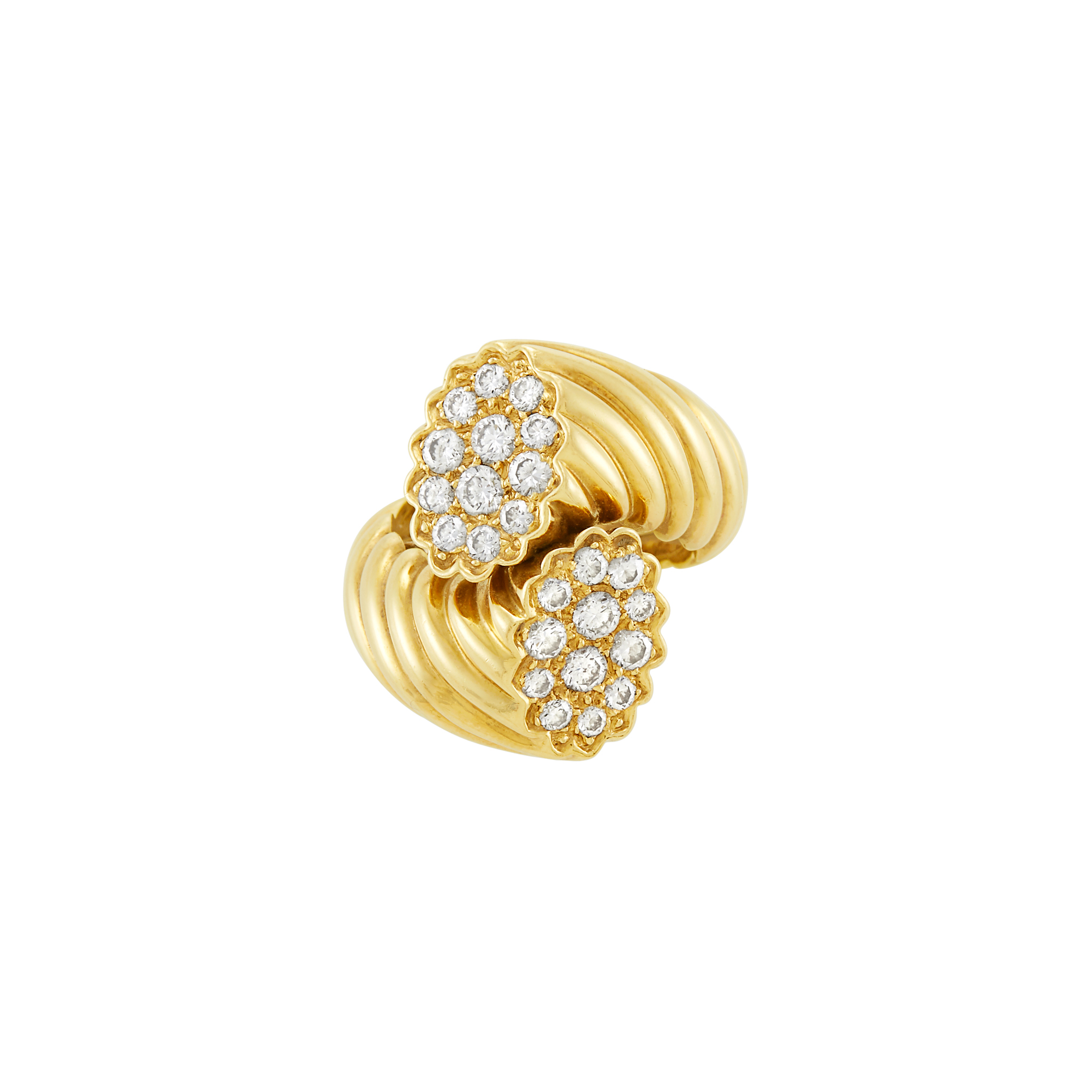 Lot image - Gold and Diamond Crossover Ring