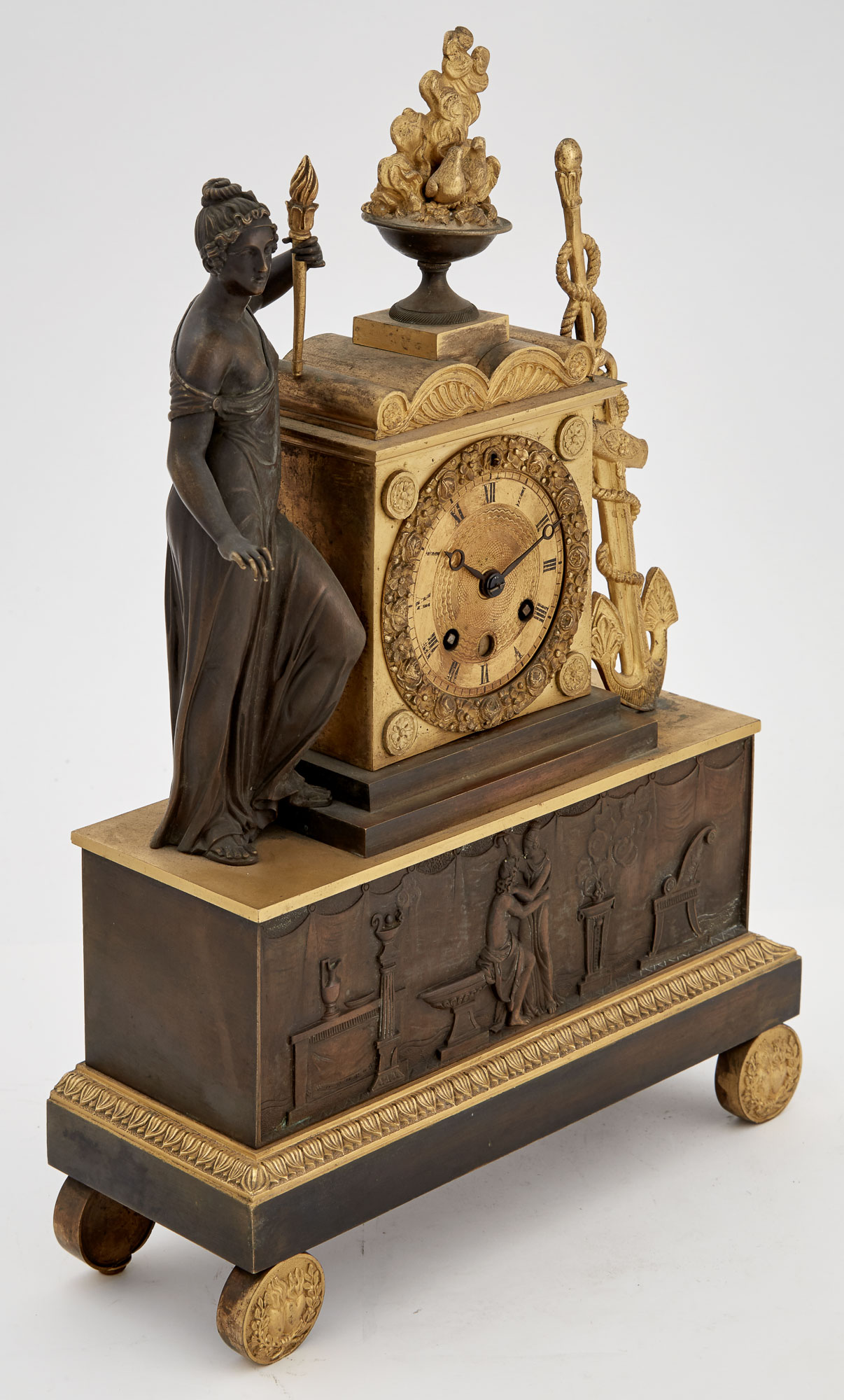 Lot image - Empire Style Gilt and Patinated Metal Figural Mantel Clock