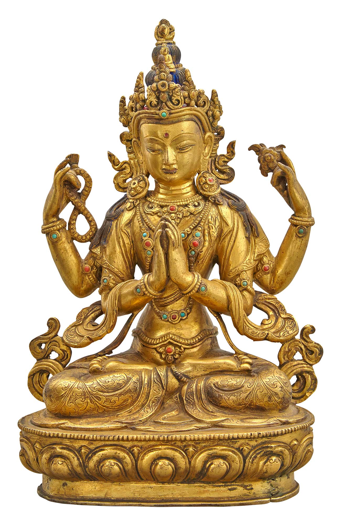 Lot image - Tibetan Gilt-Bronze Figure of Shadakshari
