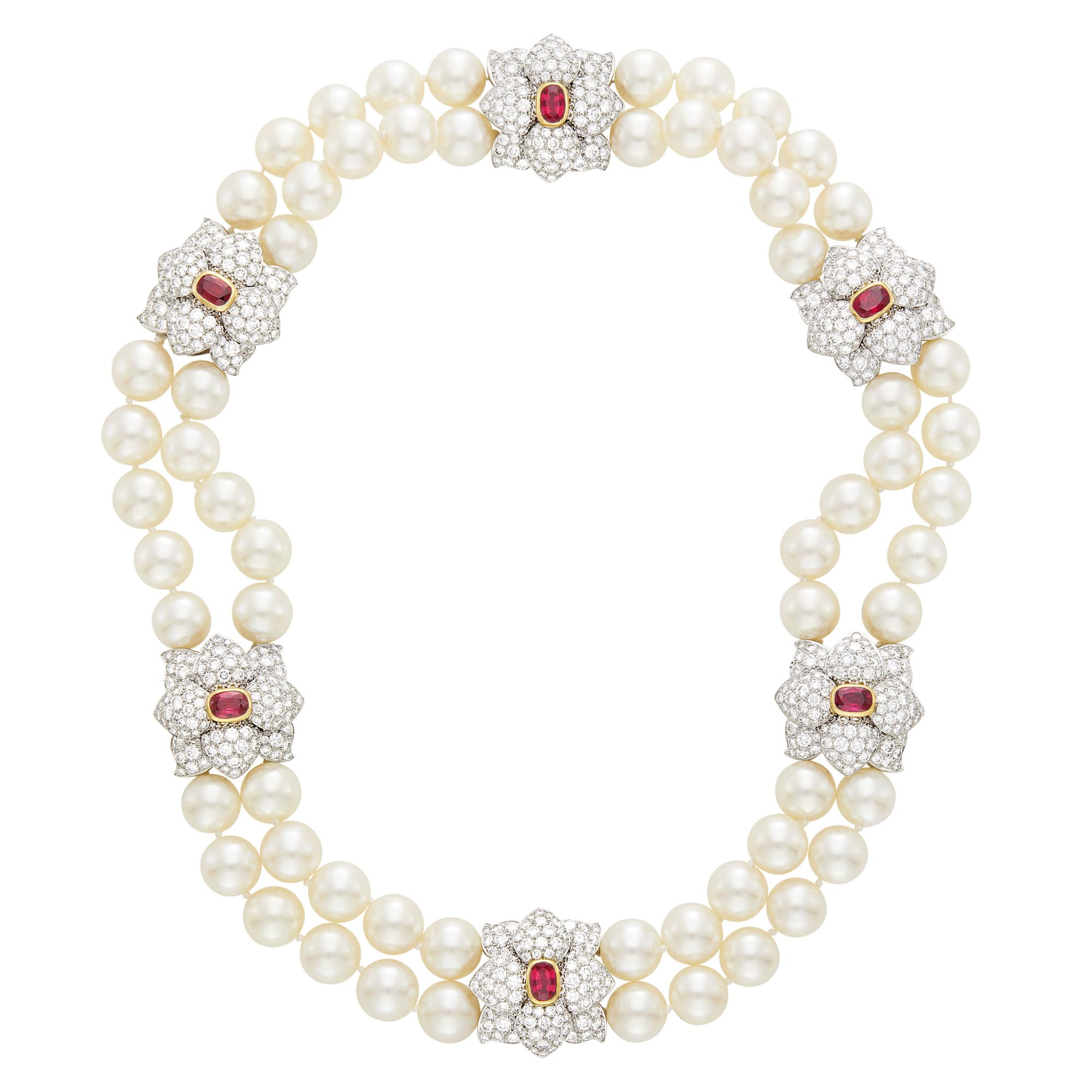Lot image - Tiffany & Co. Double Strand South Sea Cultured Pearl, Platinum, Gold, Ruby and Diamond Necklace, France