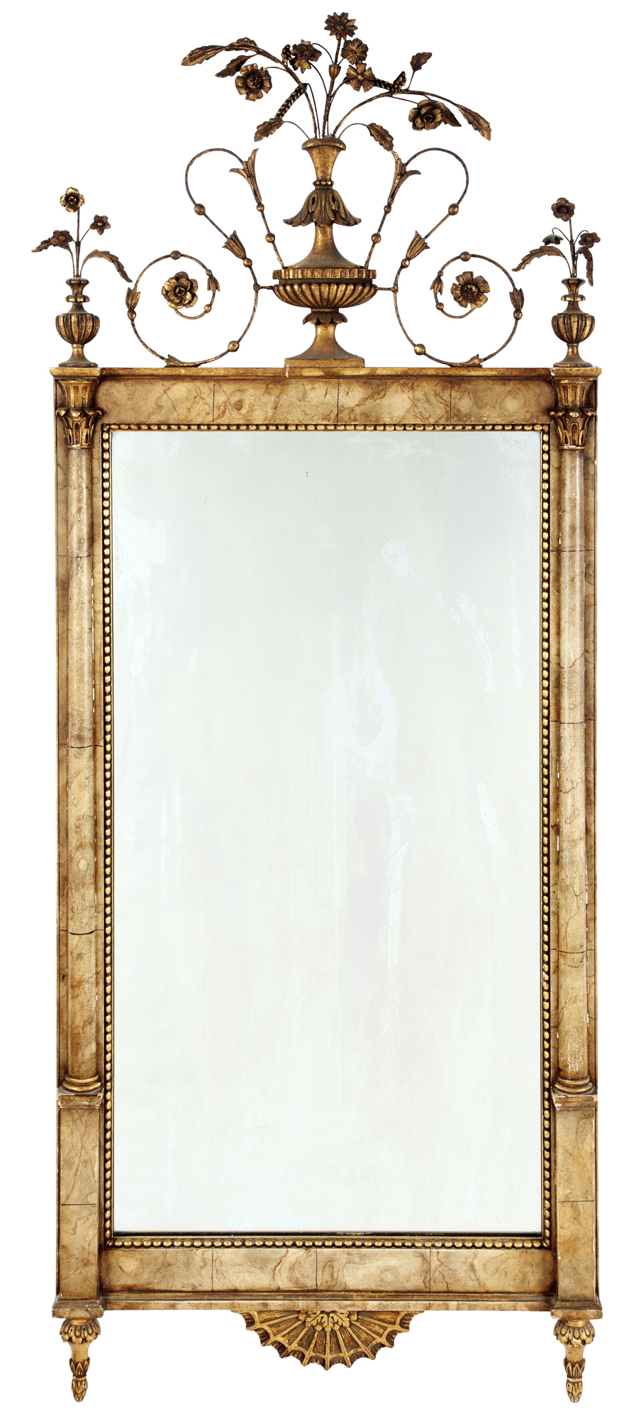 Lot image - Bilbao Neoclassical Style Faux Marble and Giltwood Pier Mirror