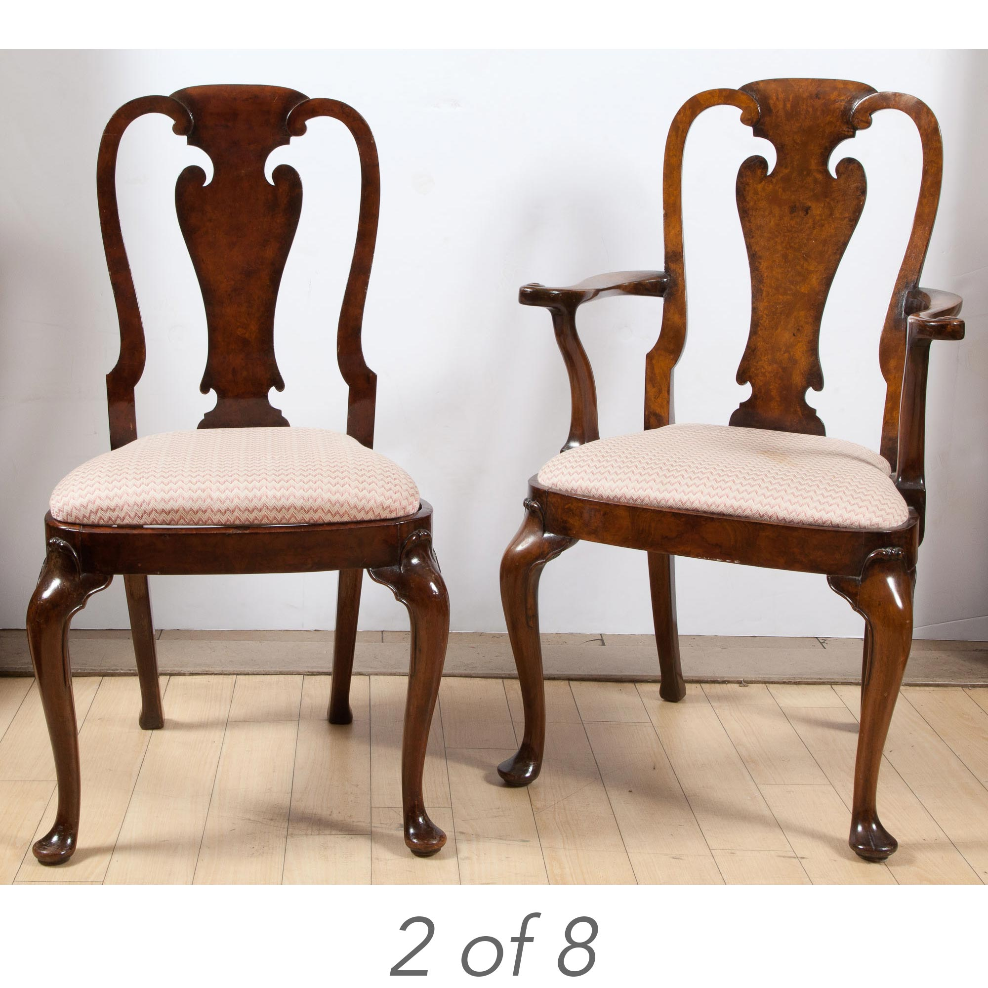 Lot image - Set of Eight George II Style Walnut Dining Chairs