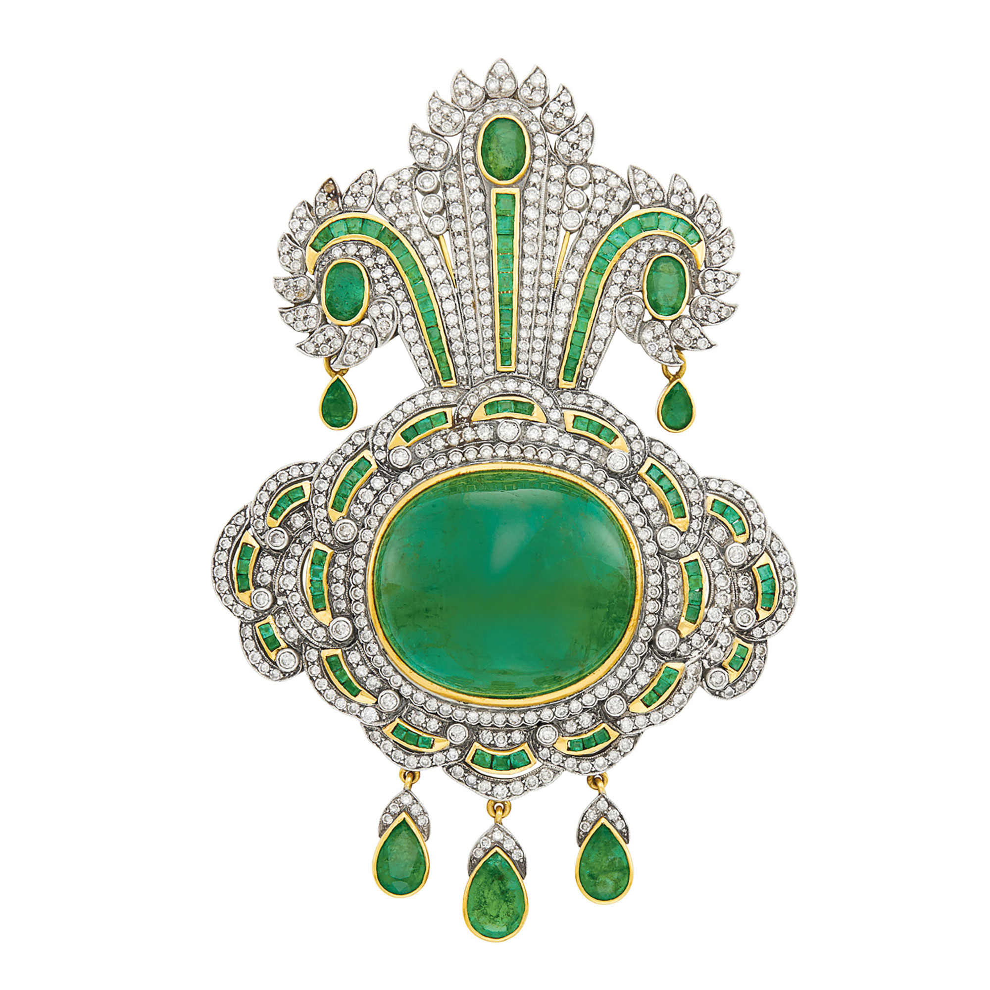 Lot image - Two-Color Gold, Cabochon Emerald, Emerald and Diamond Brooch