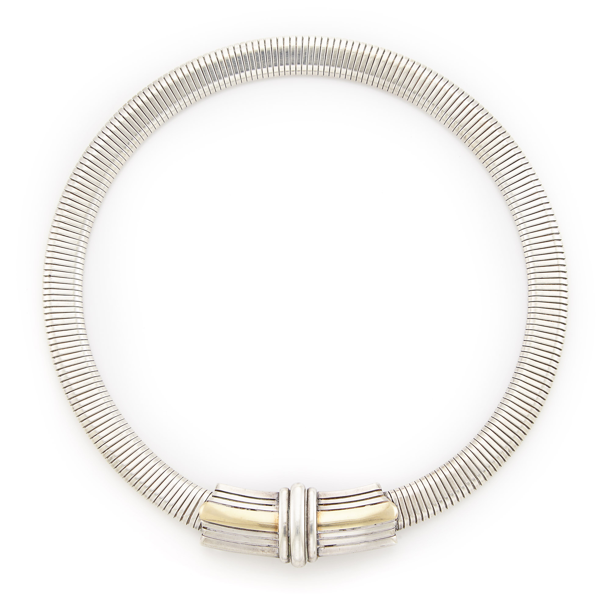 Lot image - Silver and Gold Choker Necklace, Cartier