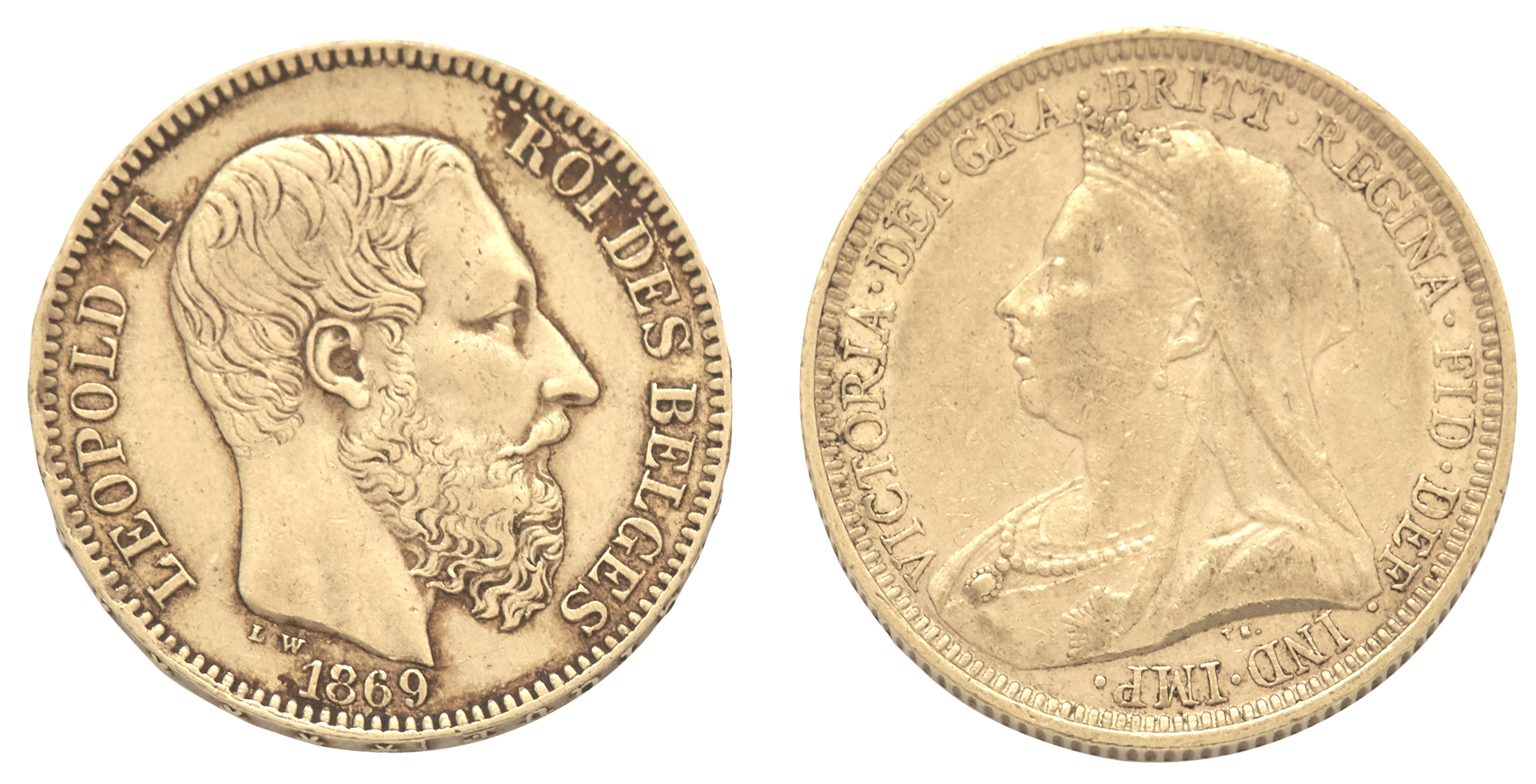 Lot image - Belgium and England Gold Coins