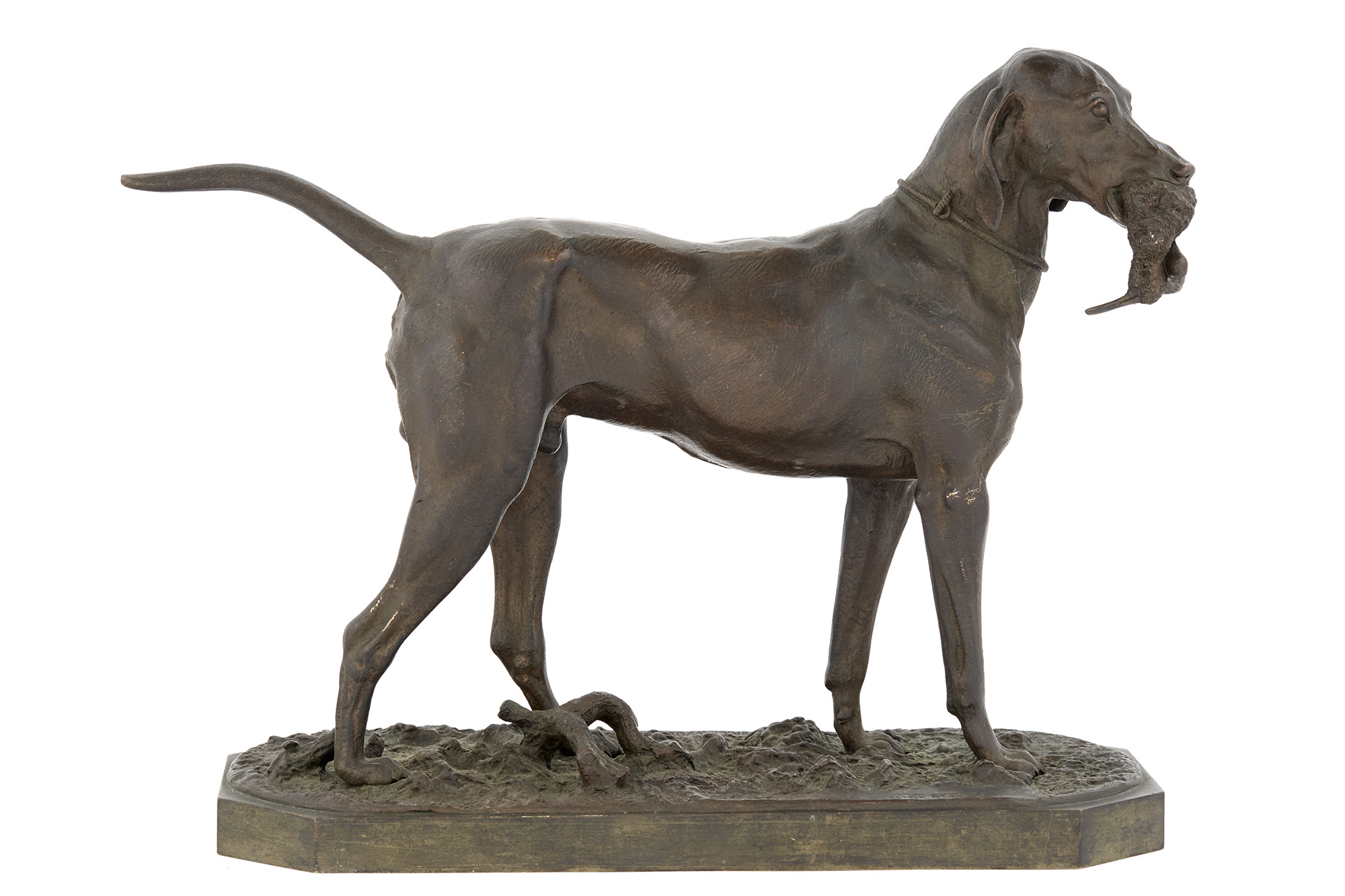 Lot image - Russian Bronze Figure of a Hunting Dog with His Trophy
