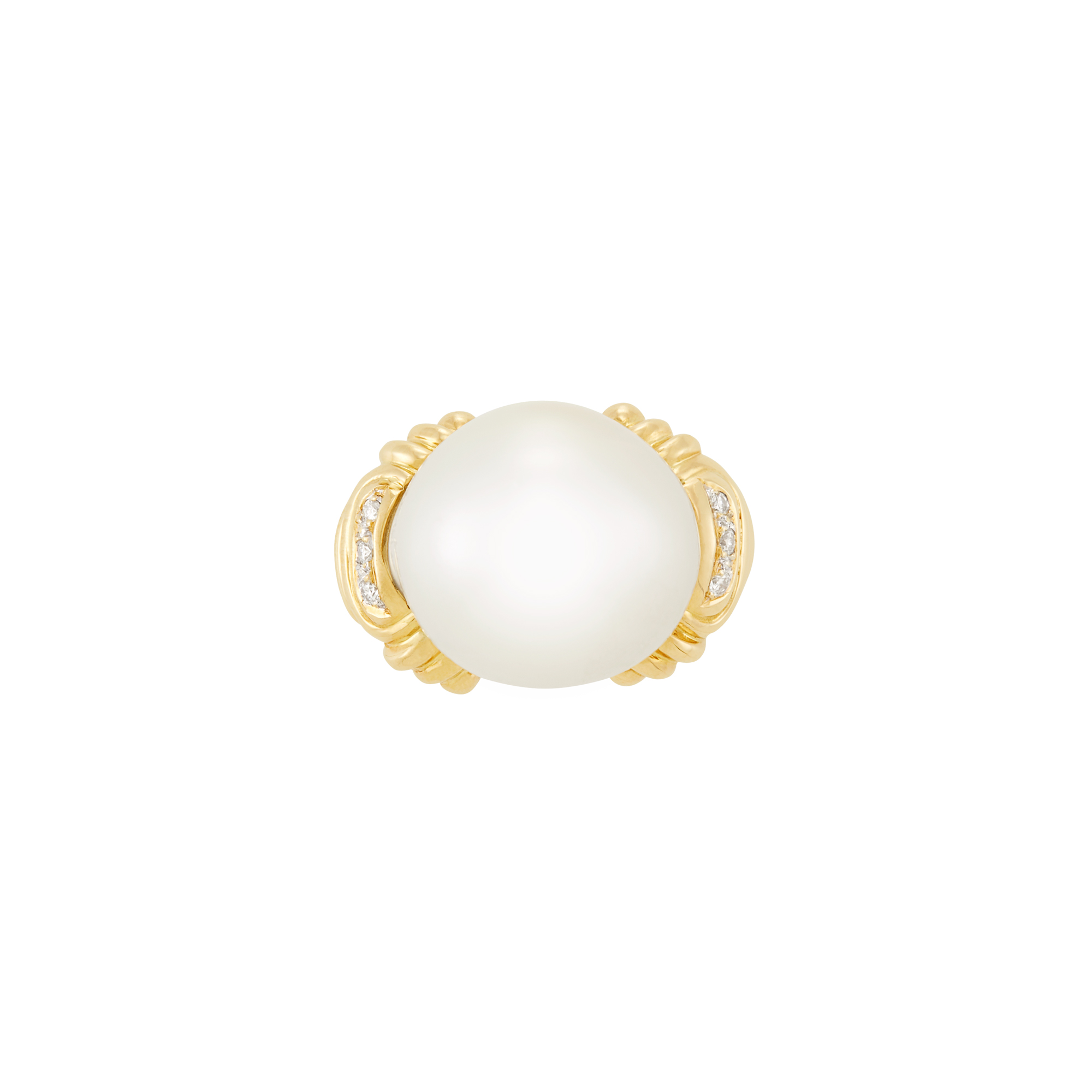 Lot image - Gold and South Sea Cultured Pearl Ring