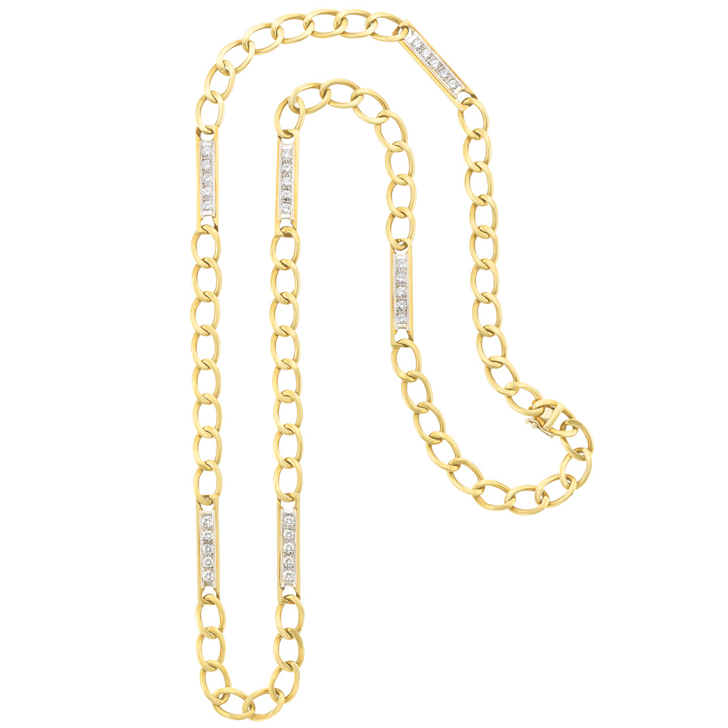 Lot image - Long Two-Color Gold and Diamond Curb Link Chain Necklace