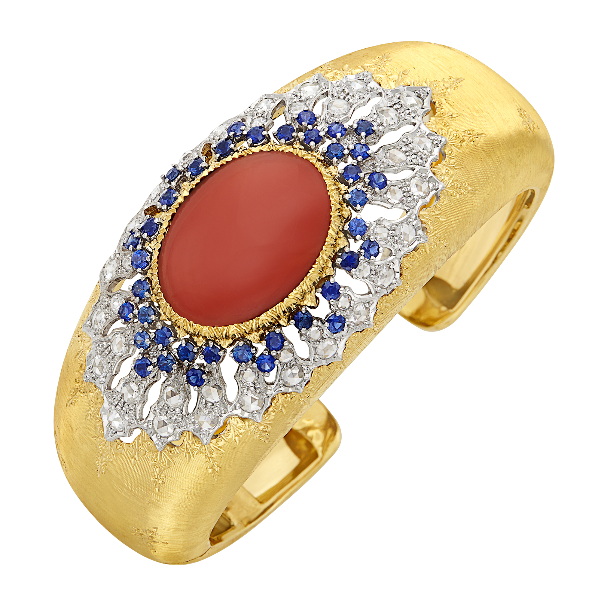 Lot image - Two-Color Gold, Coral, Diamond and Sapphire Cuff Bangle Bracelet