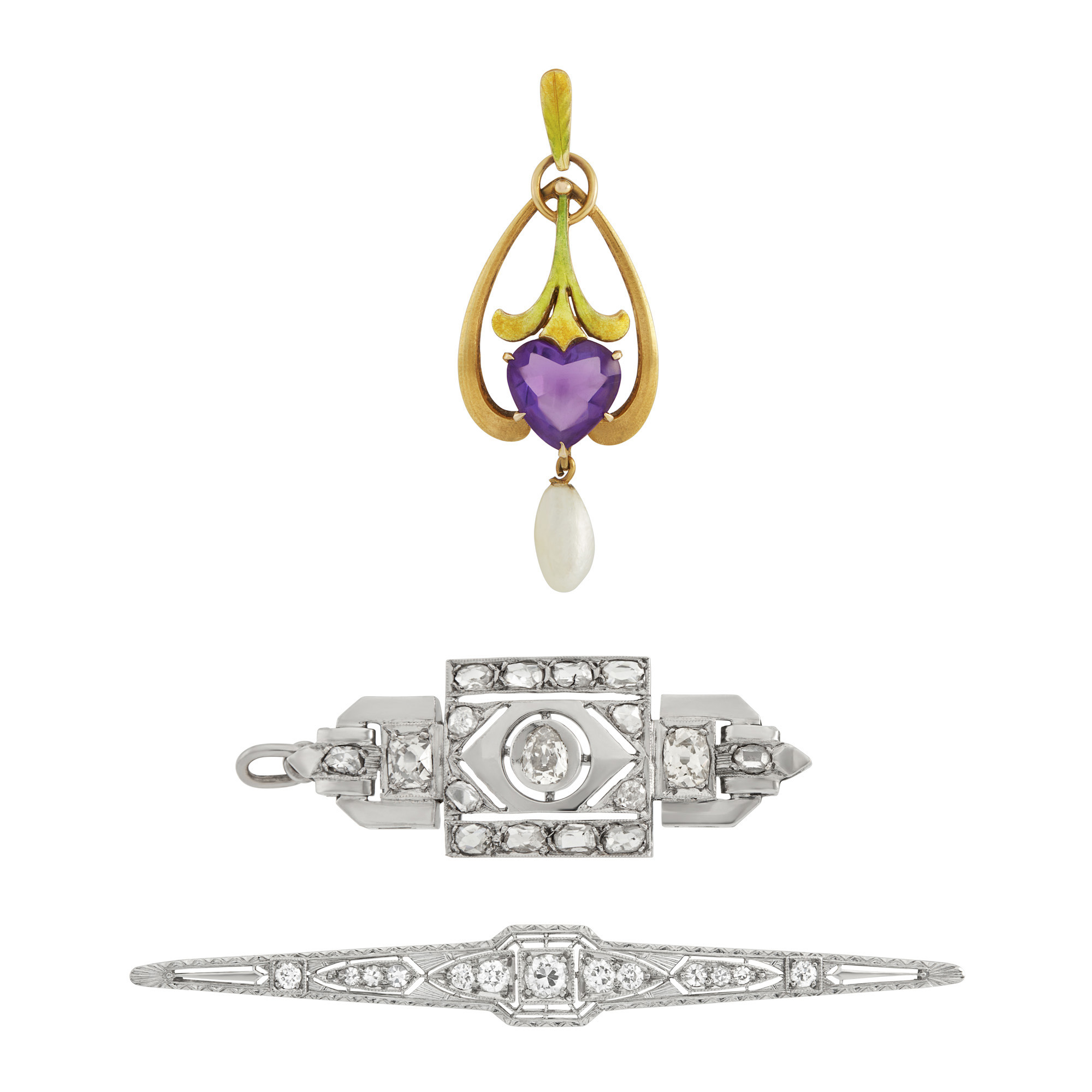 Lot image - Two White Gold, Platinum and Diamond Pins and Art Nouveau Gold, Amethyst, Pearl and Enamel Pendant