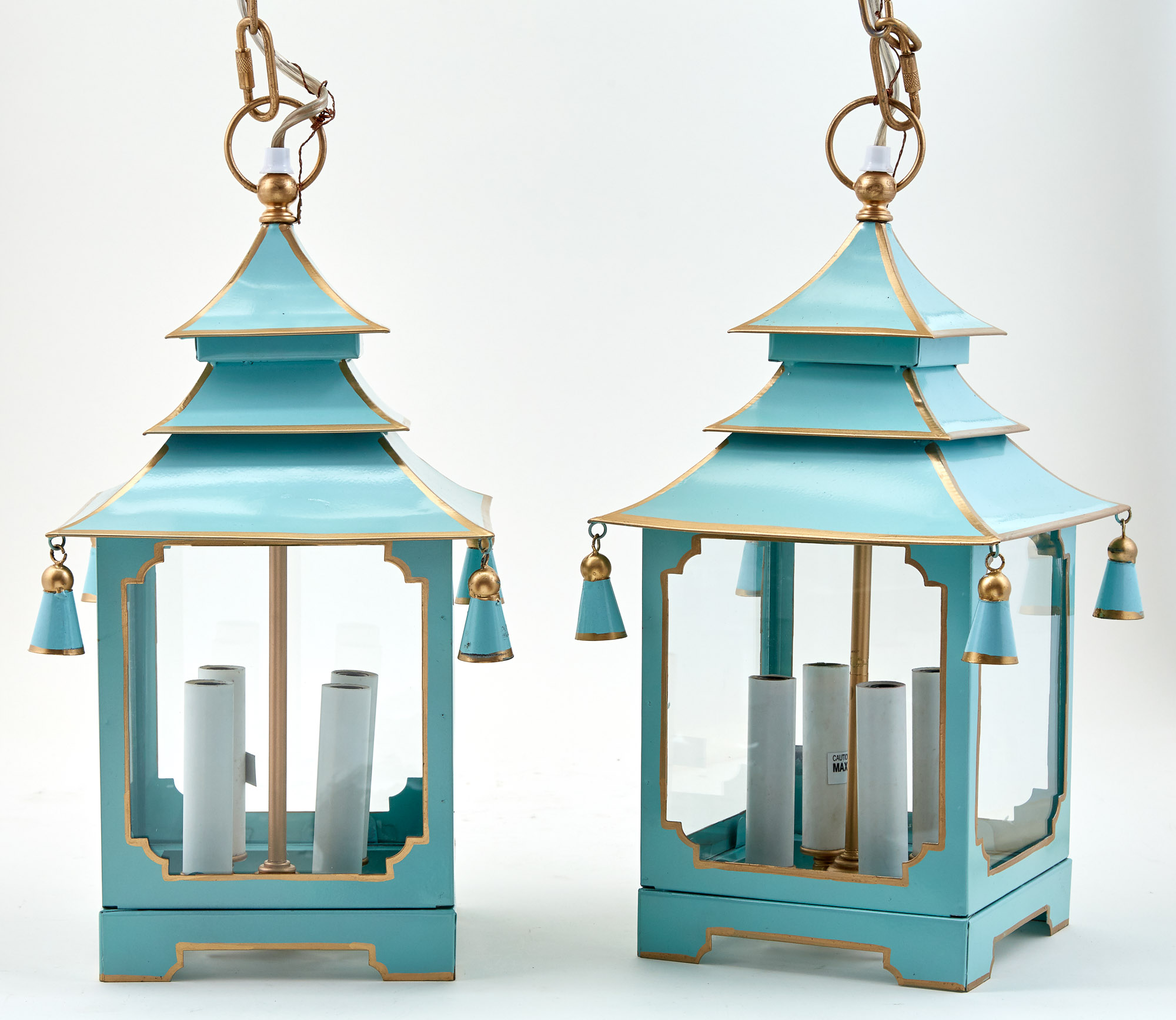 Lot image - Pair of Chinese Pagoda Form Painted Metal Lanterns