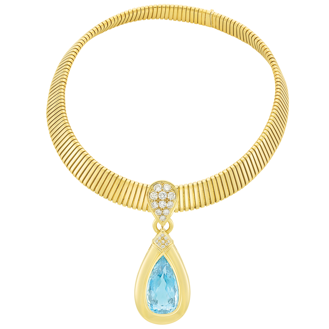 Lot image - Gold, Aquamarine and Diamond Pendant-Necklace