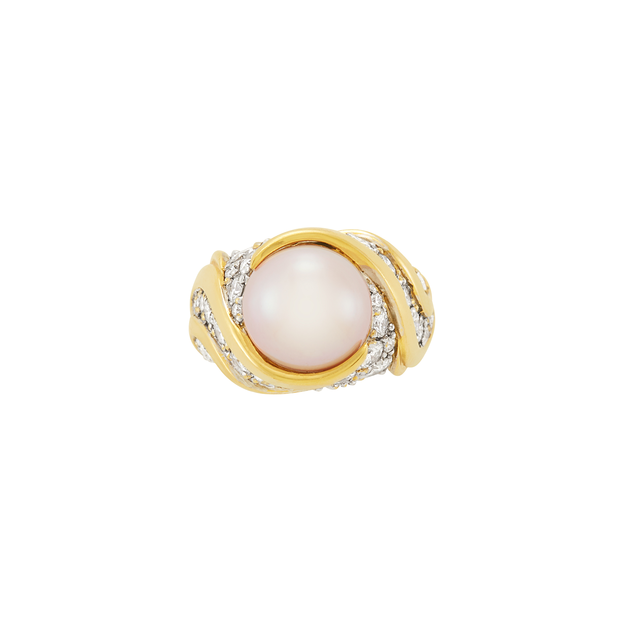 Lot image - Two-Color Gold, Pink Freshwater Pearl and Diamond Ring