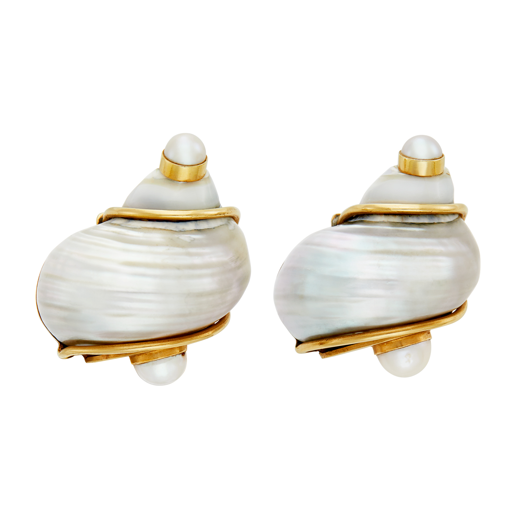 Lot image - Pair of Gold, Shell and Cultured Pearl Turbo Shell Earclips, Seaman Schepps