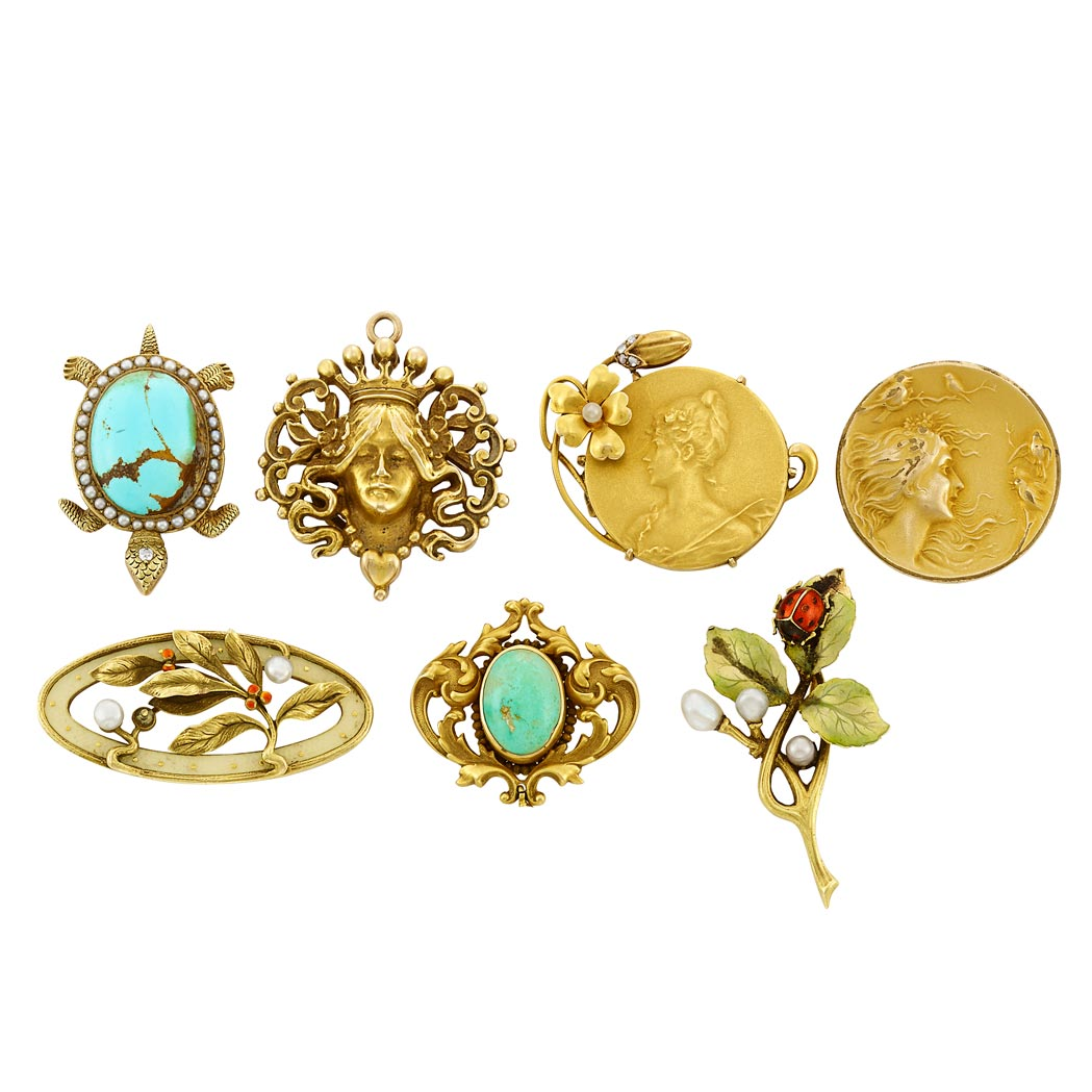 Lot image - Seven  Antique and Art Nouveau Gold, Turquoise, Enamel, Pearl and Diamond Pins