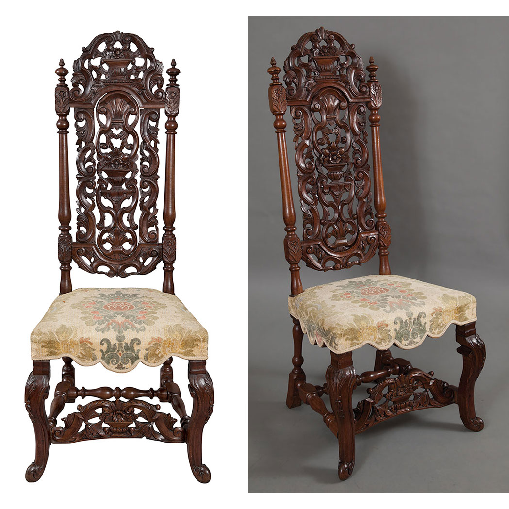 Lot image - Pair of Anglo-Dutch Walnut Side Chairs