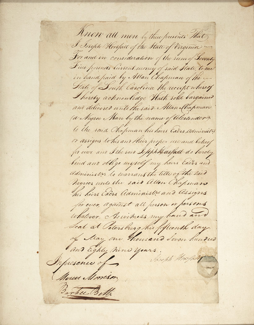 Lot image - [SLAVERY]  Letter regarding the transfer of a slave.