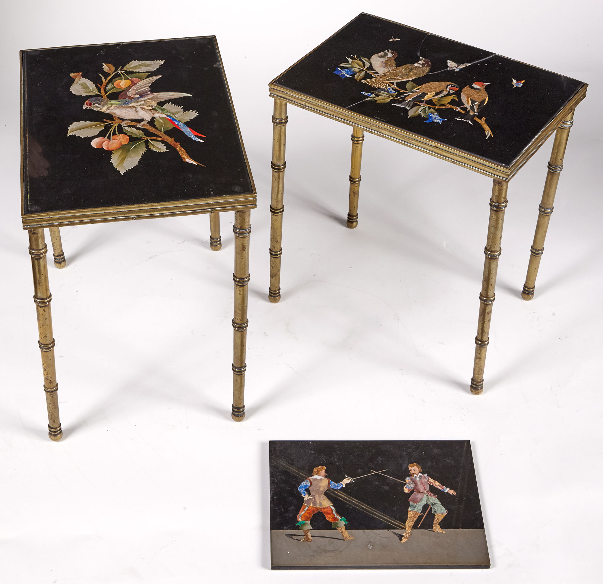 Lot image - Two Florentine Bird Decorated Pietra Dura Top Brass Low Side Tables