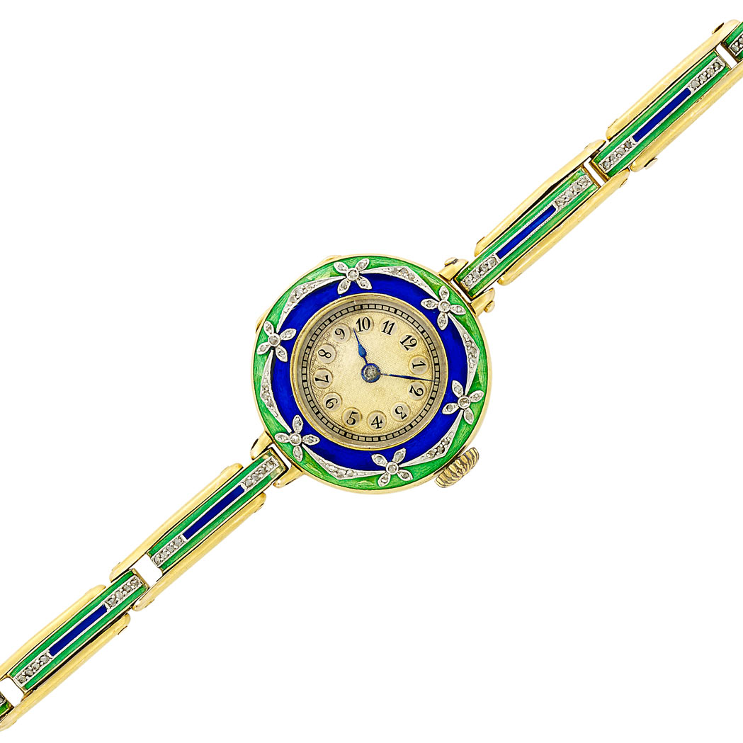 Lot image - Antique Gold, Platinum, Blue and Green Enamel and Diamond Wristwatch