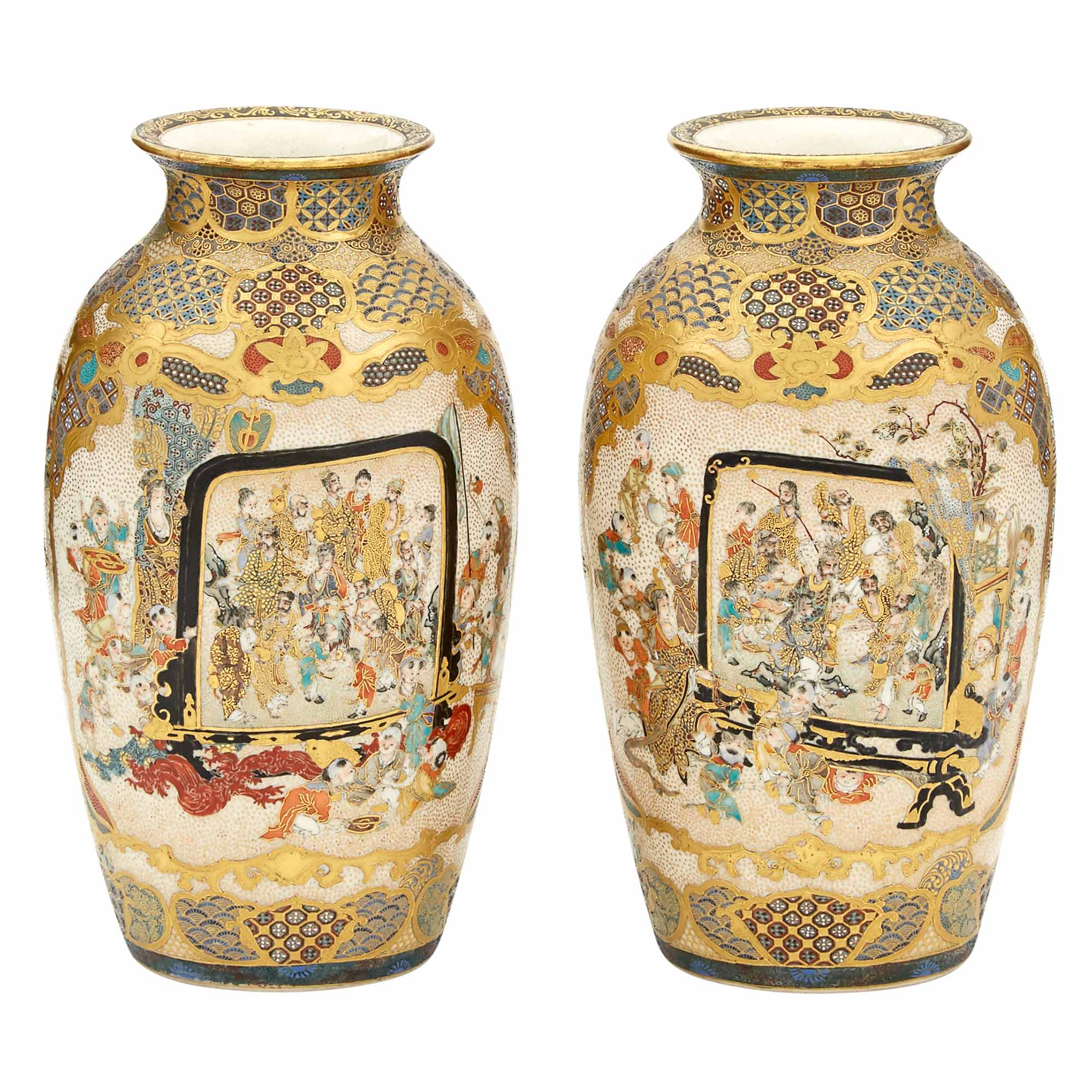 Lot image - Pair of Japanese Satsuma Vases