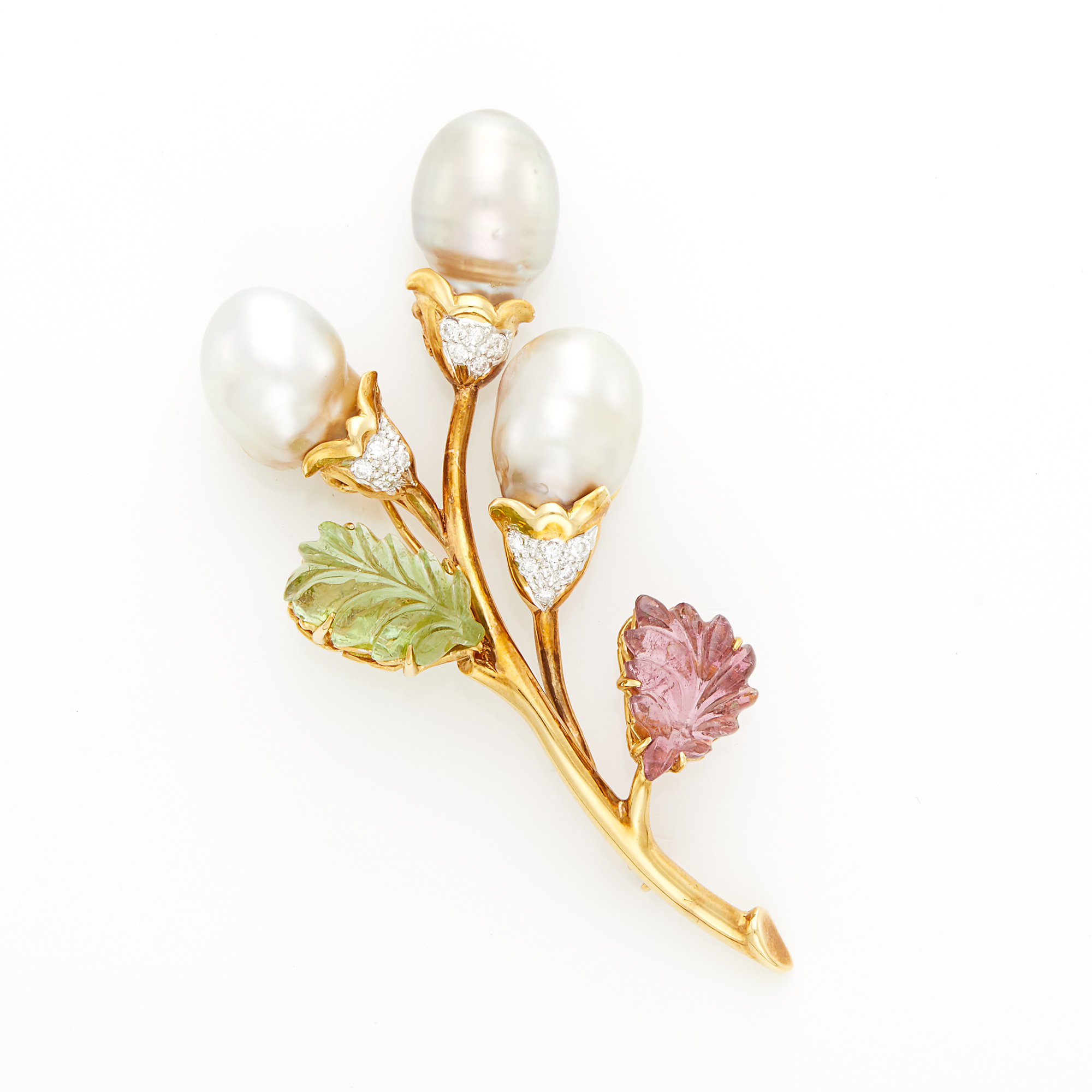 Lot image - Gold, Baroque Cultured Pearl, Carved Tourmaline and Pink Tourmaline and Diamond Brooch