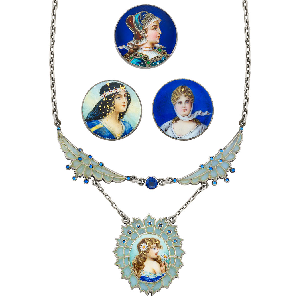 Lot image - Three Antique Silver and Enamel Portrait Brooches and Silver, Plique-a-Jour  Enamel and Blue Stone Pendant-Necklace