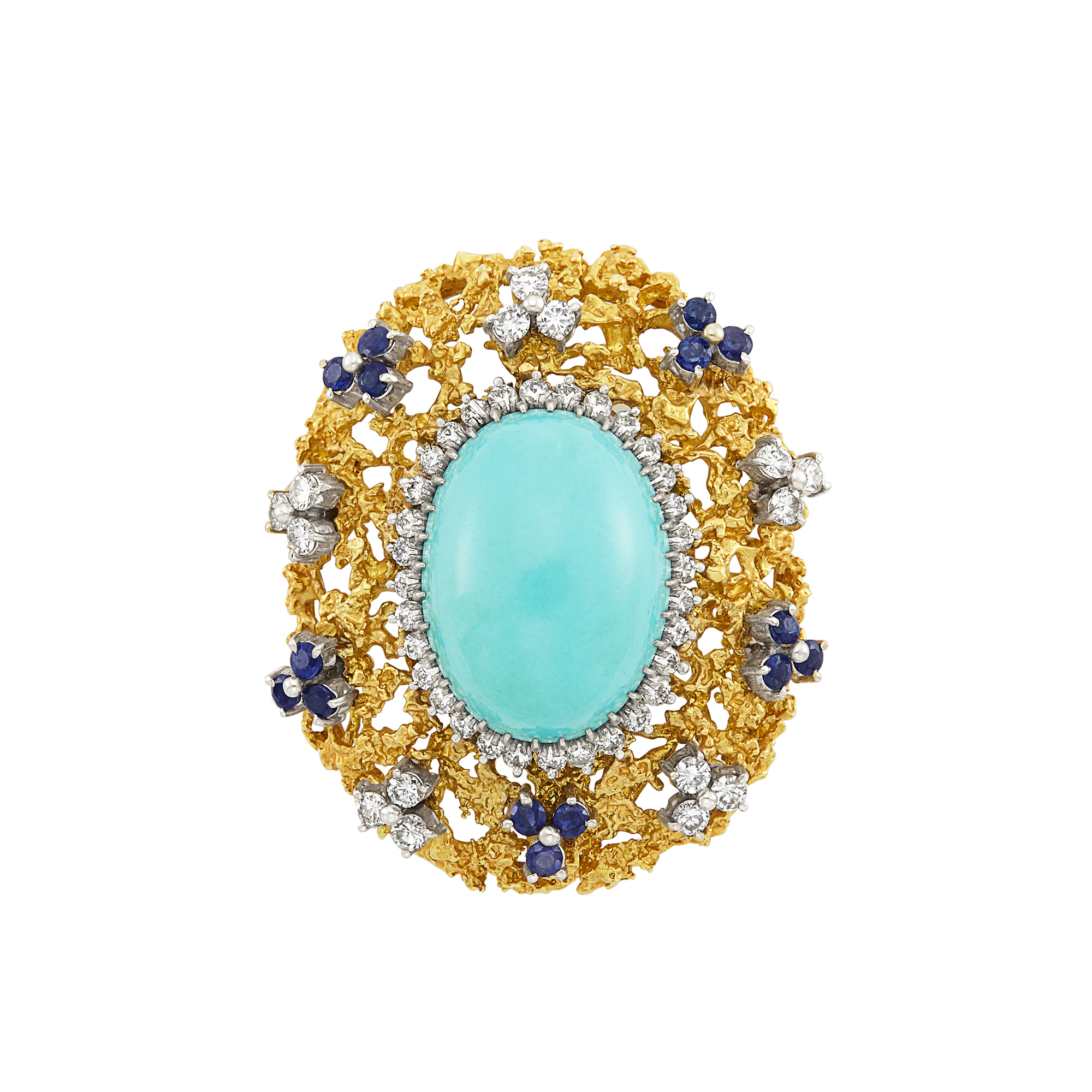 Lot image - Two-Color Gold, Turquoise, Diamond and Sapphire Brooch