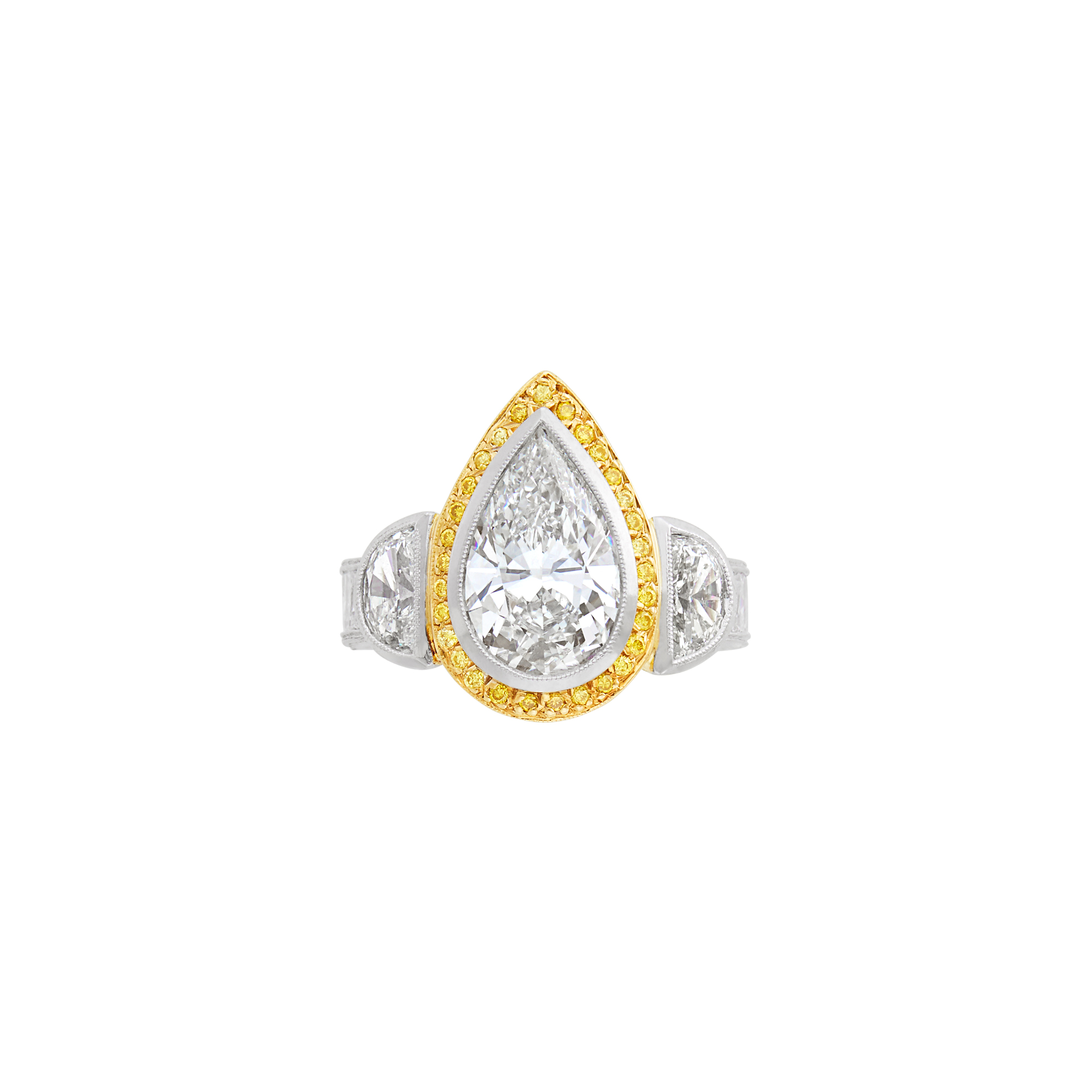 Lot image - Platinum, Gold, Diamond and Yellow Diamond Ring, Michael Beaudry