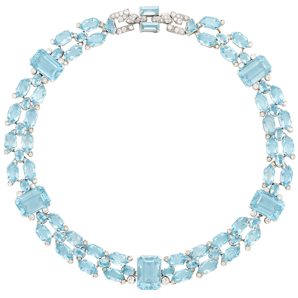Lot image - Art Deco Platinum, Aquamarine and Diamond Necklace, Cartier, London