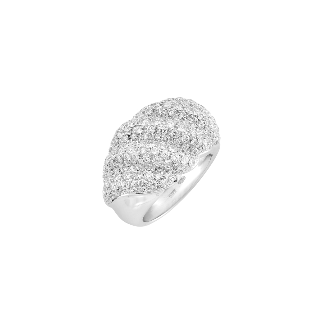 Lot image - White Gold and Diamond Bombé Ring