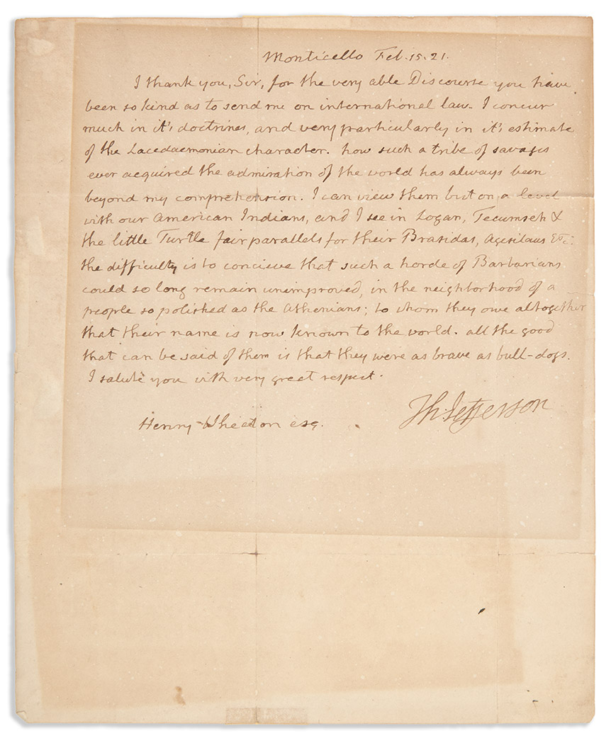 Lot image - JEFFERSON, THOMAS  Autograph letter signed mentioning several important Native Americans by name.