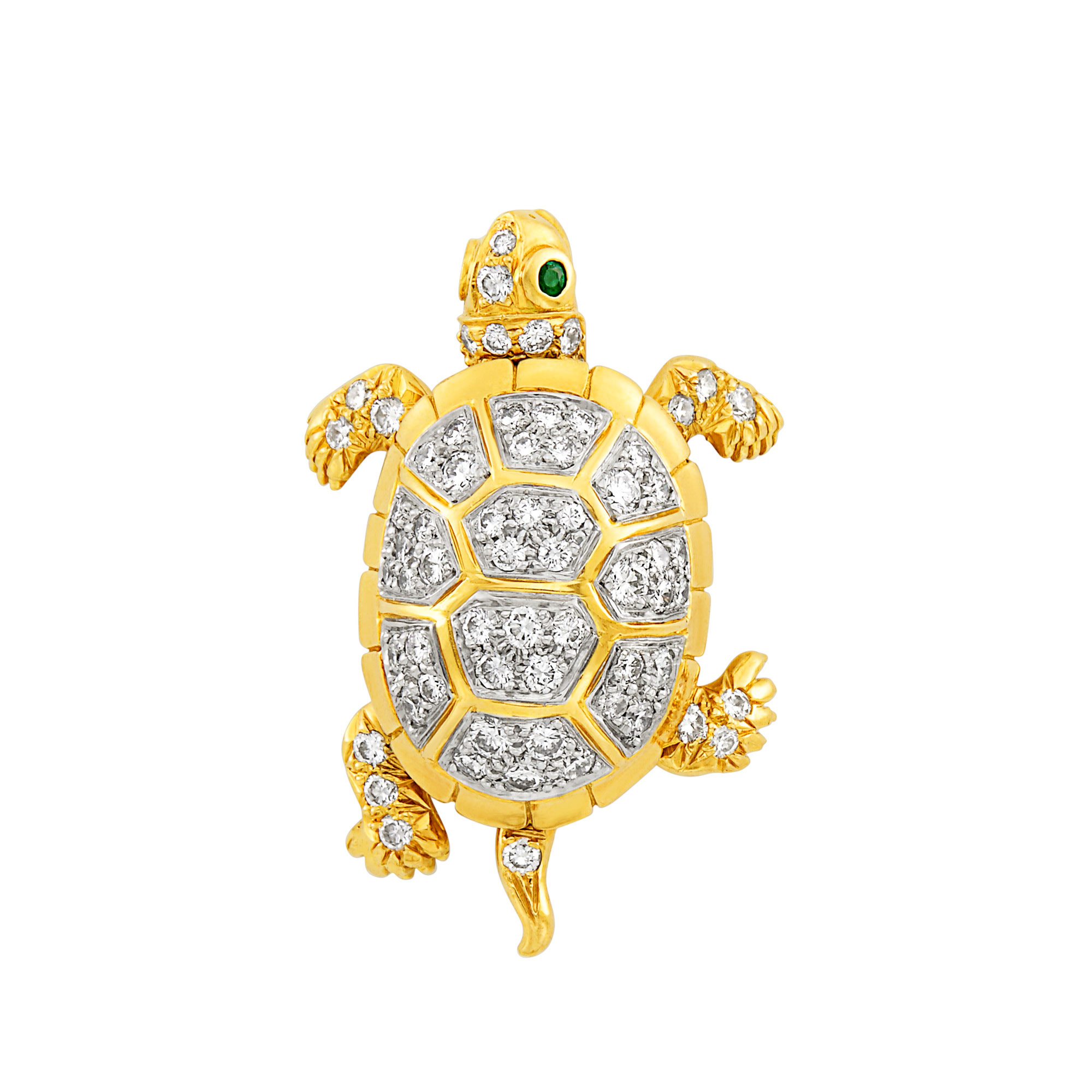 Lot image - Gold, Platinum and Diamond Turtle Pendant-Pin